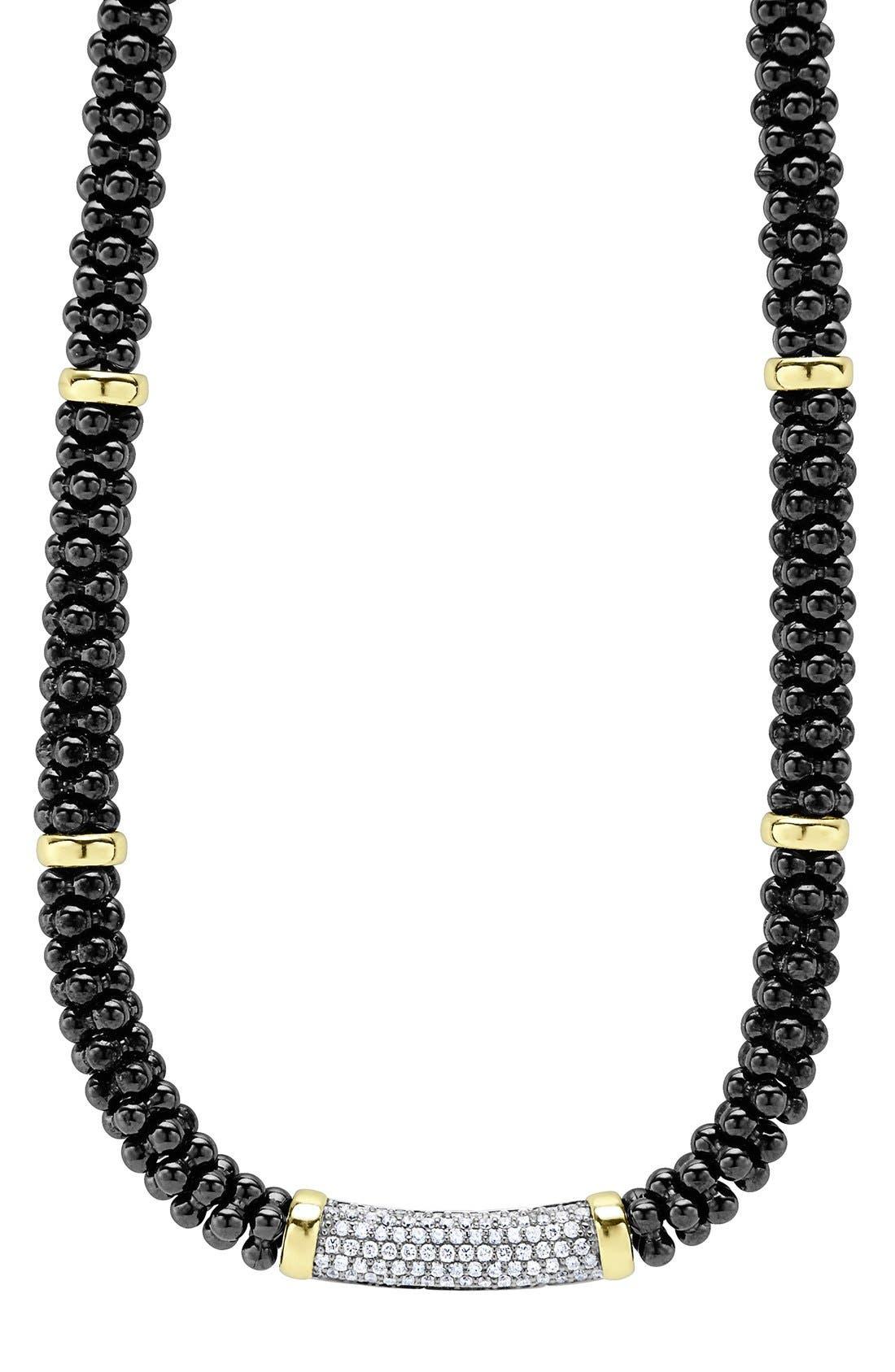 LAGOS 'Black Caviar' 7mm Beaded Diamond Bar Necklace, Main, color, 001