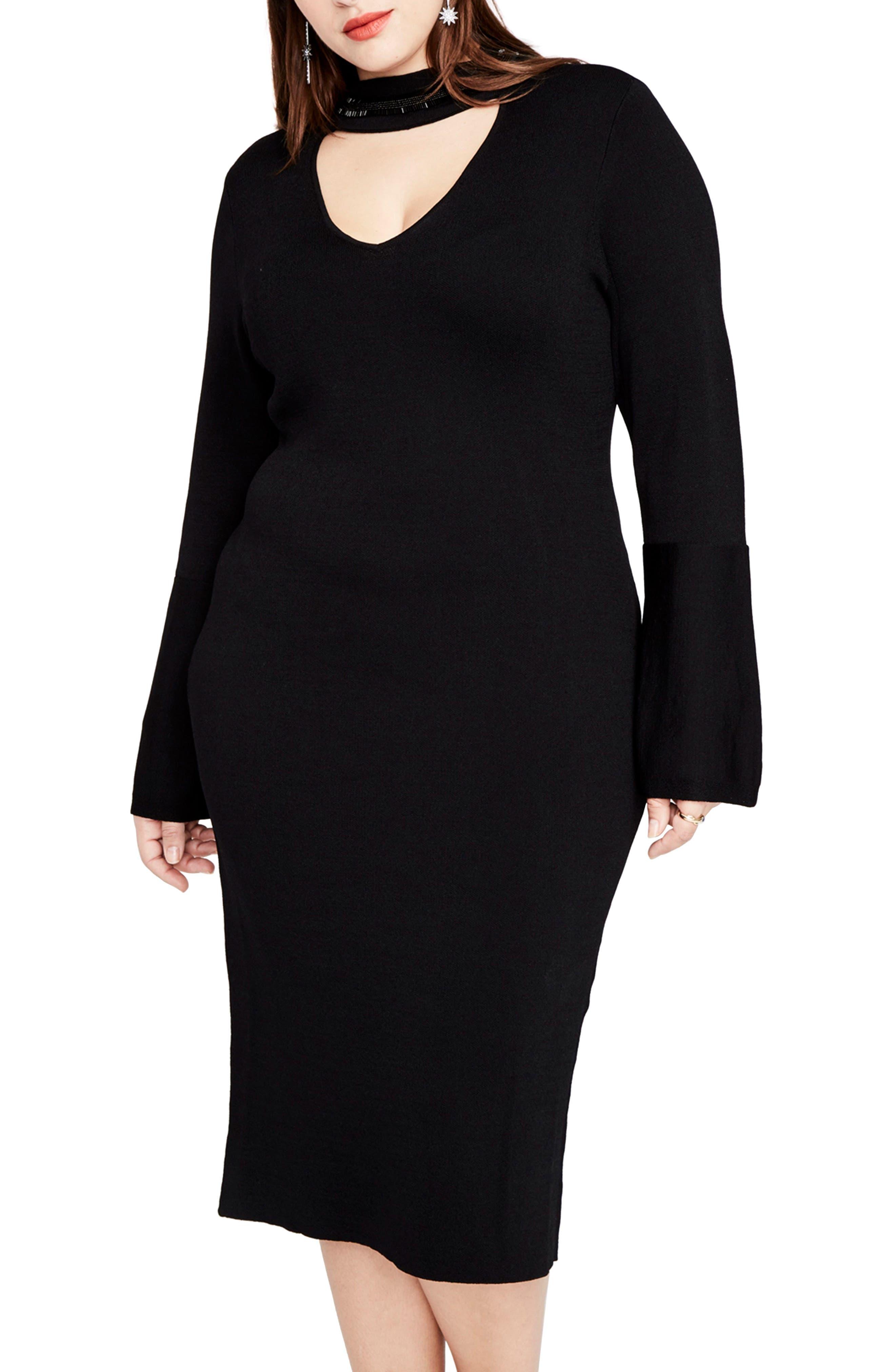 RACHEL RACHEL ROY,                             Choker Neck Sweater Dress,                             Alternate thumbnail 3, color,                             001