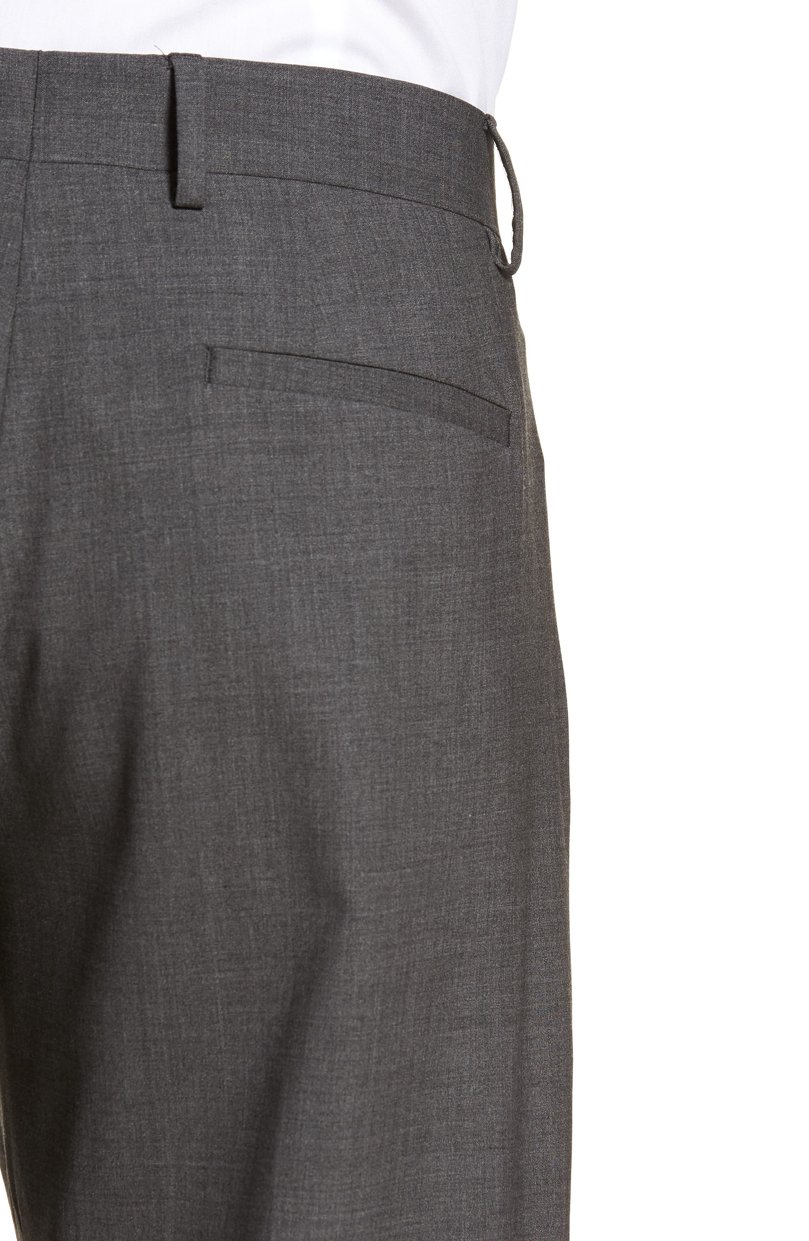 Pleat Front Stretch Solid Wool Trousers,                             Alternate thumbnail 4, color,                             024