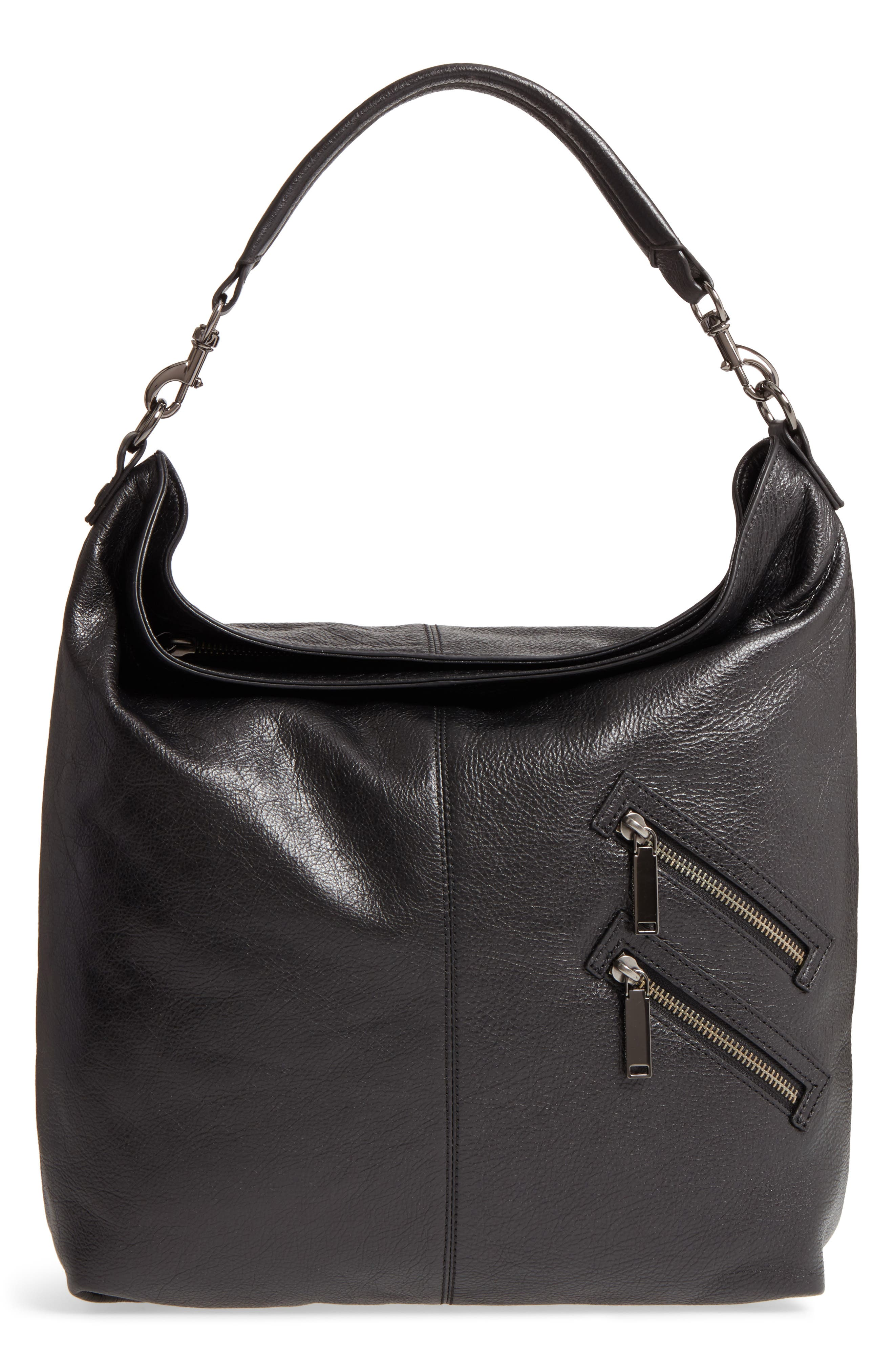 Large Jamie Convertible Leather Hobo,                         Main,                         color, 001