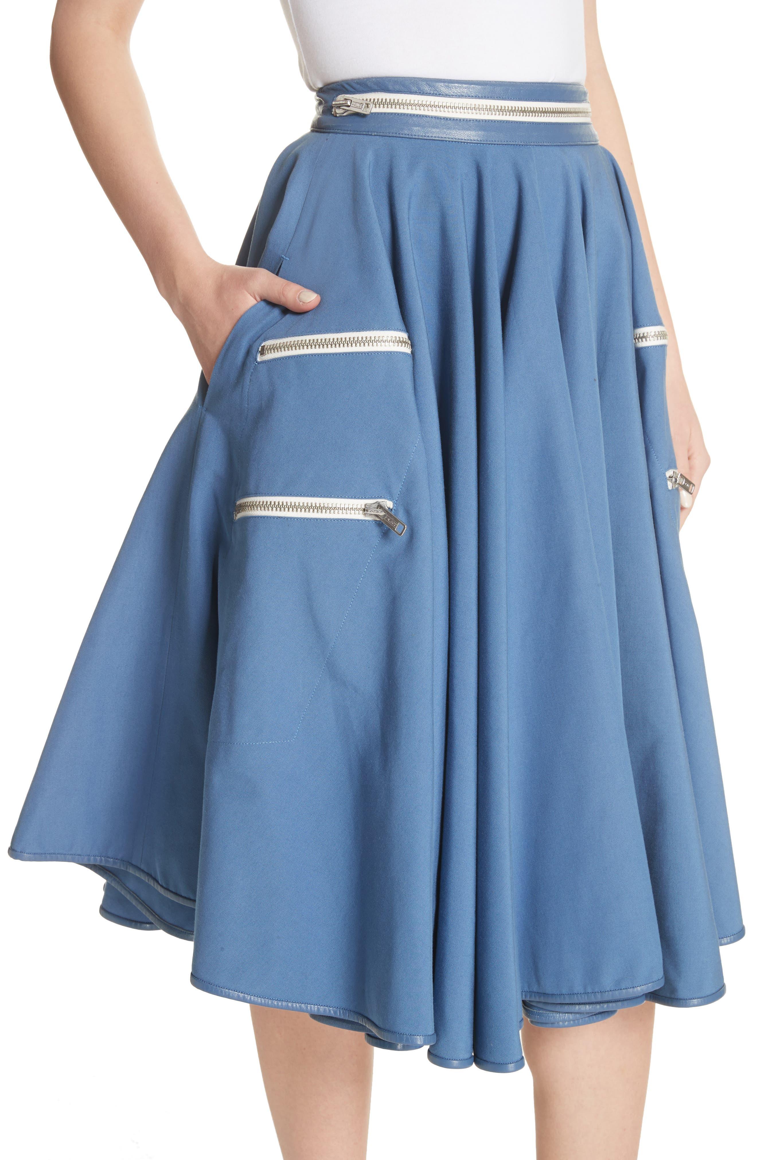 Zip Detail Circle Skirt,                             Alternate thumbnail 4, color,                             422