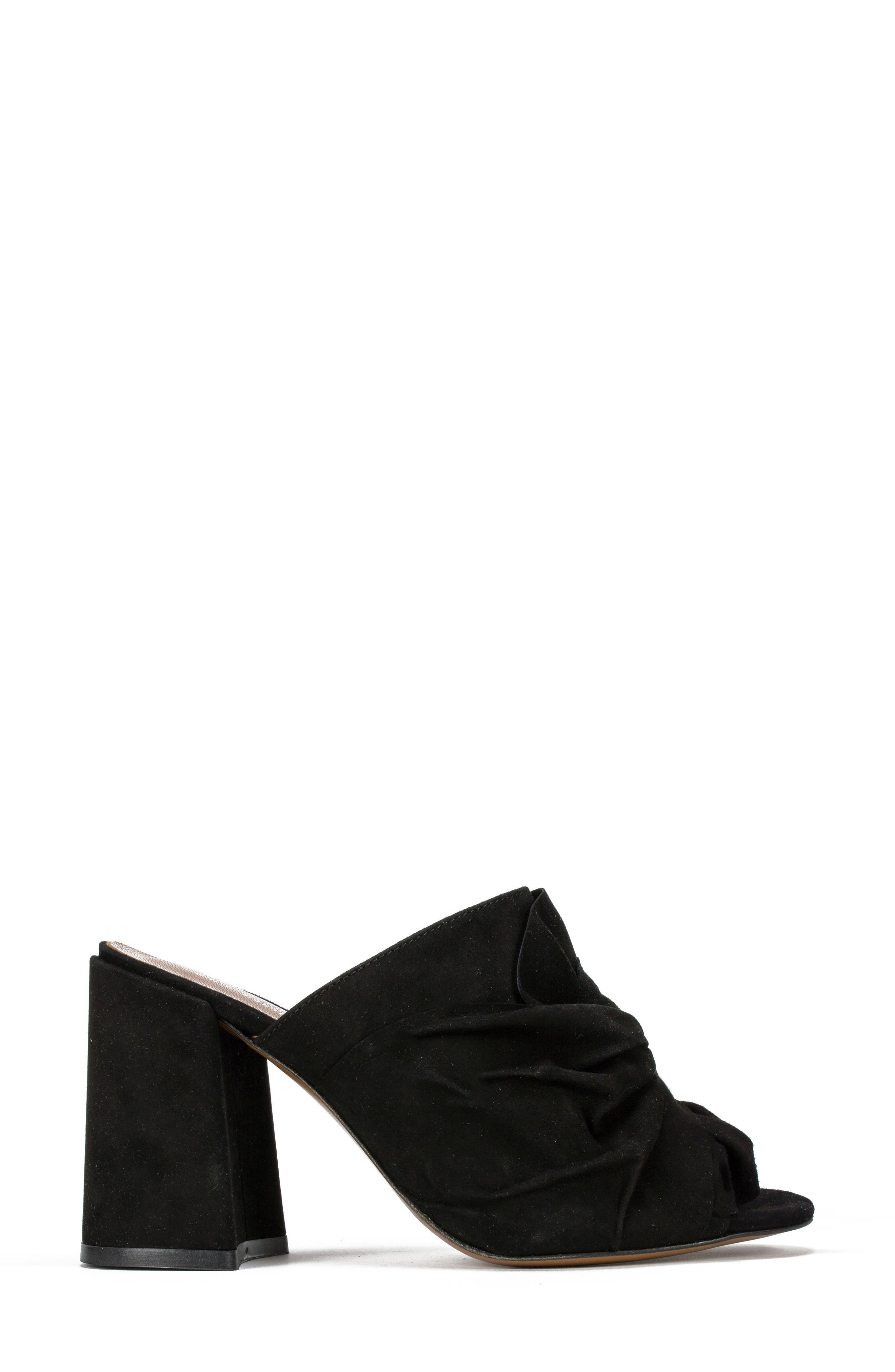 Summit Anya Block Heel Mule,                             Alternate thumbnail 3, color,                             BLACK SUEDE