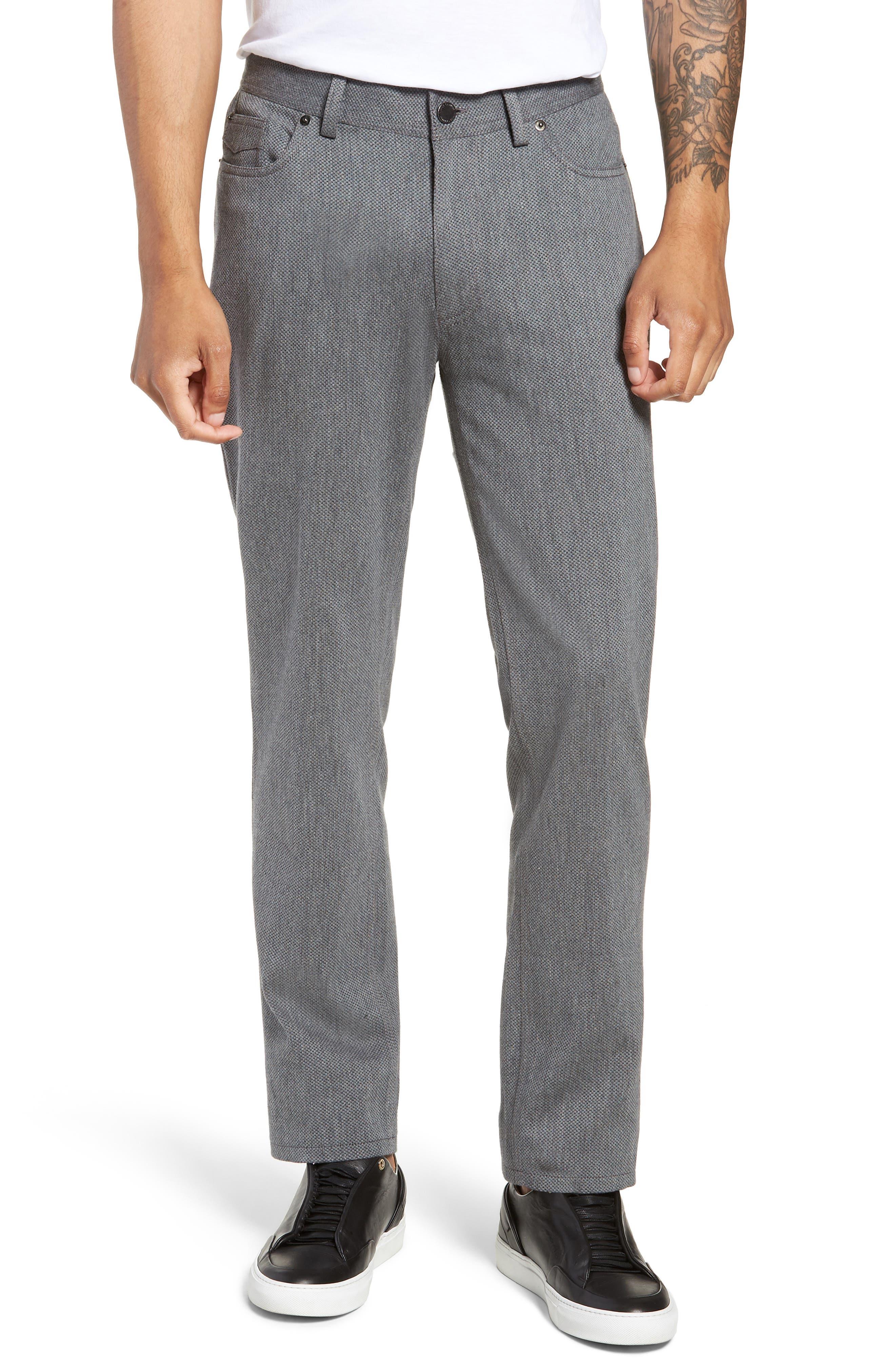 Straight Leg Five Pocket Stretch Pants, Main, color, HEATHER CHARCOAL CROSSHATCH
