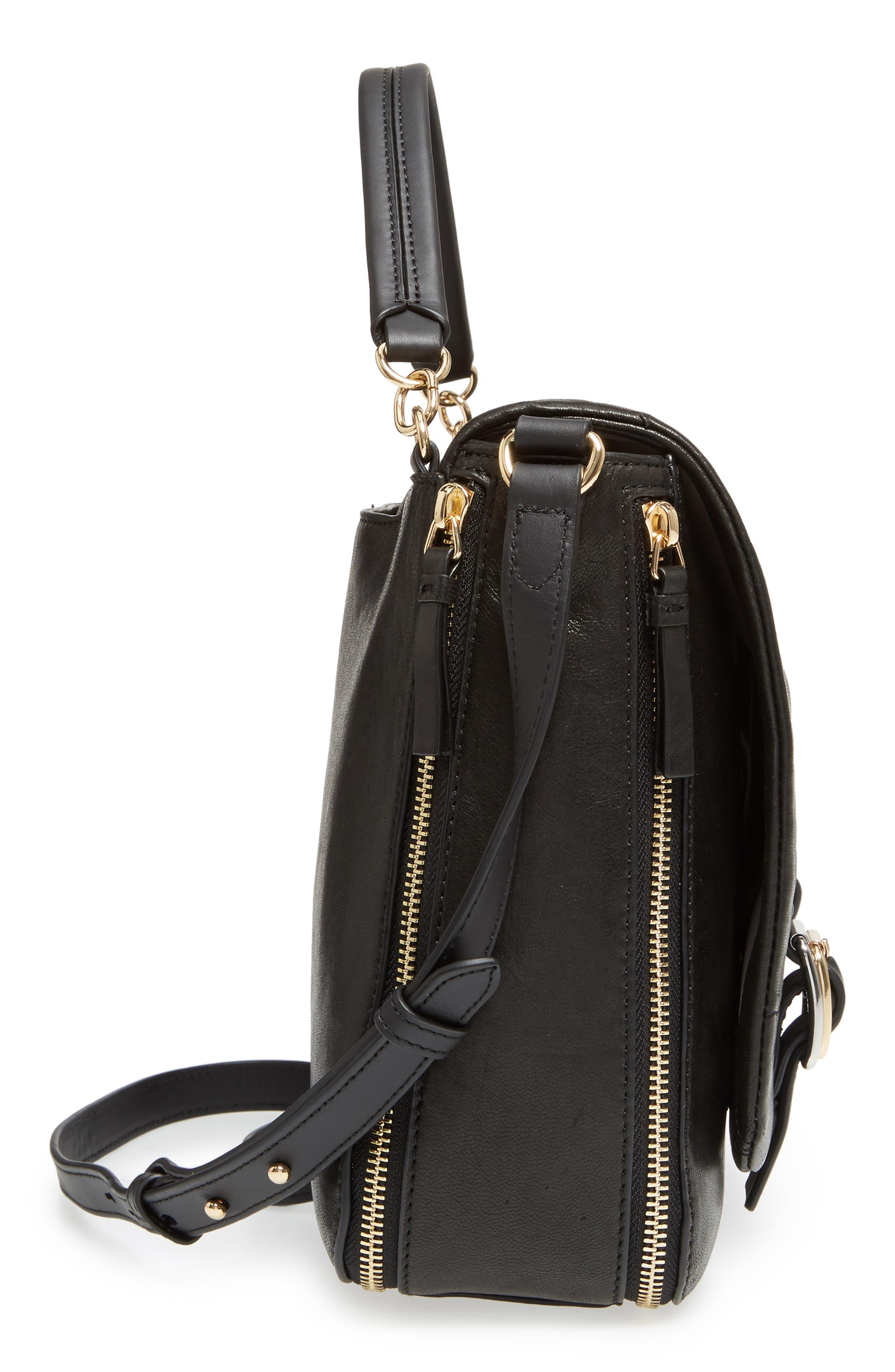 Delos Leather Messenger Bag,                             Alternate thumbnail 5, color,                             002