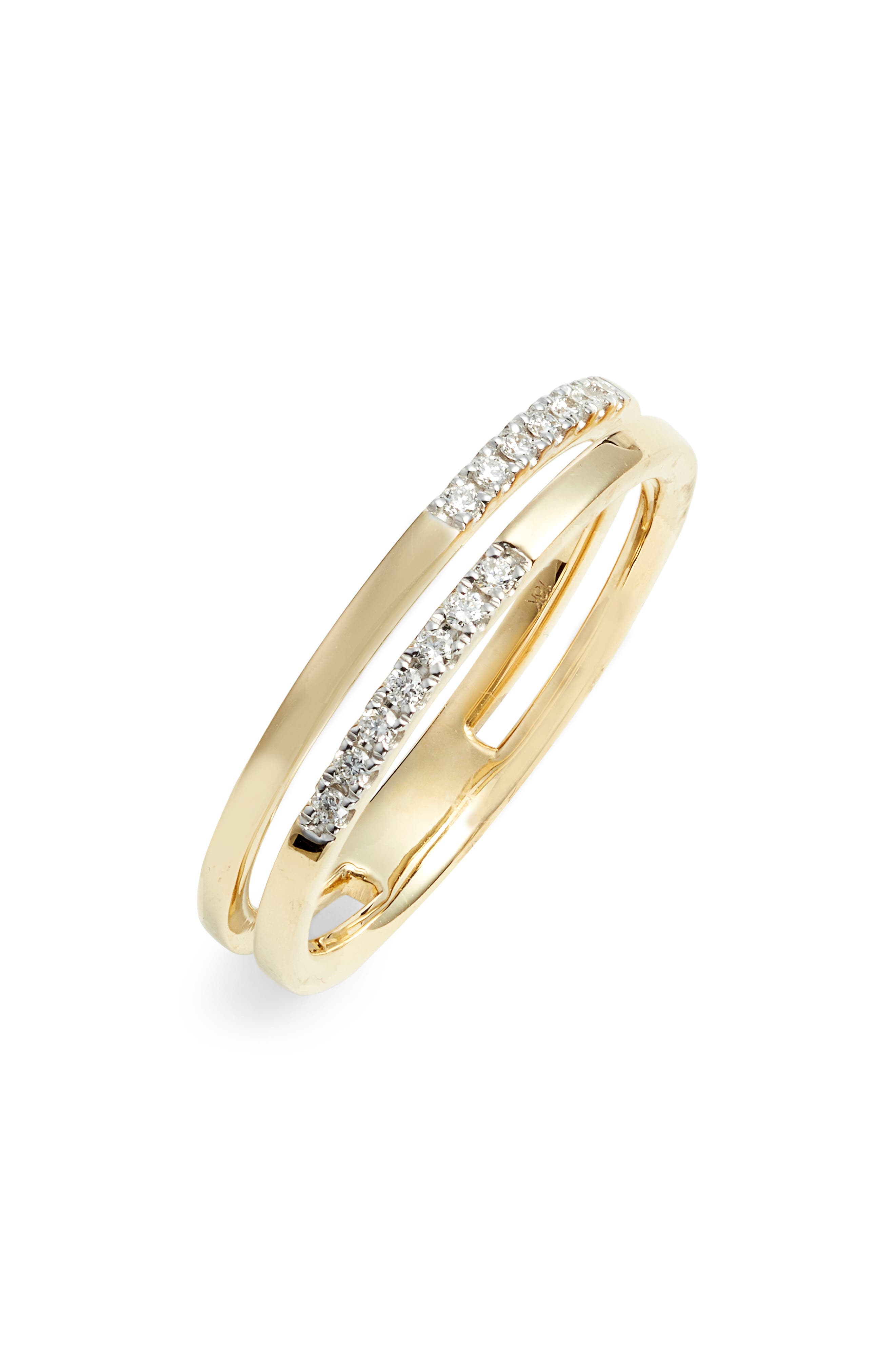 Diamond Double Stack Ring,                             Main thumbnail 1, color,                             YELLOW GOLD/ DIAMOND