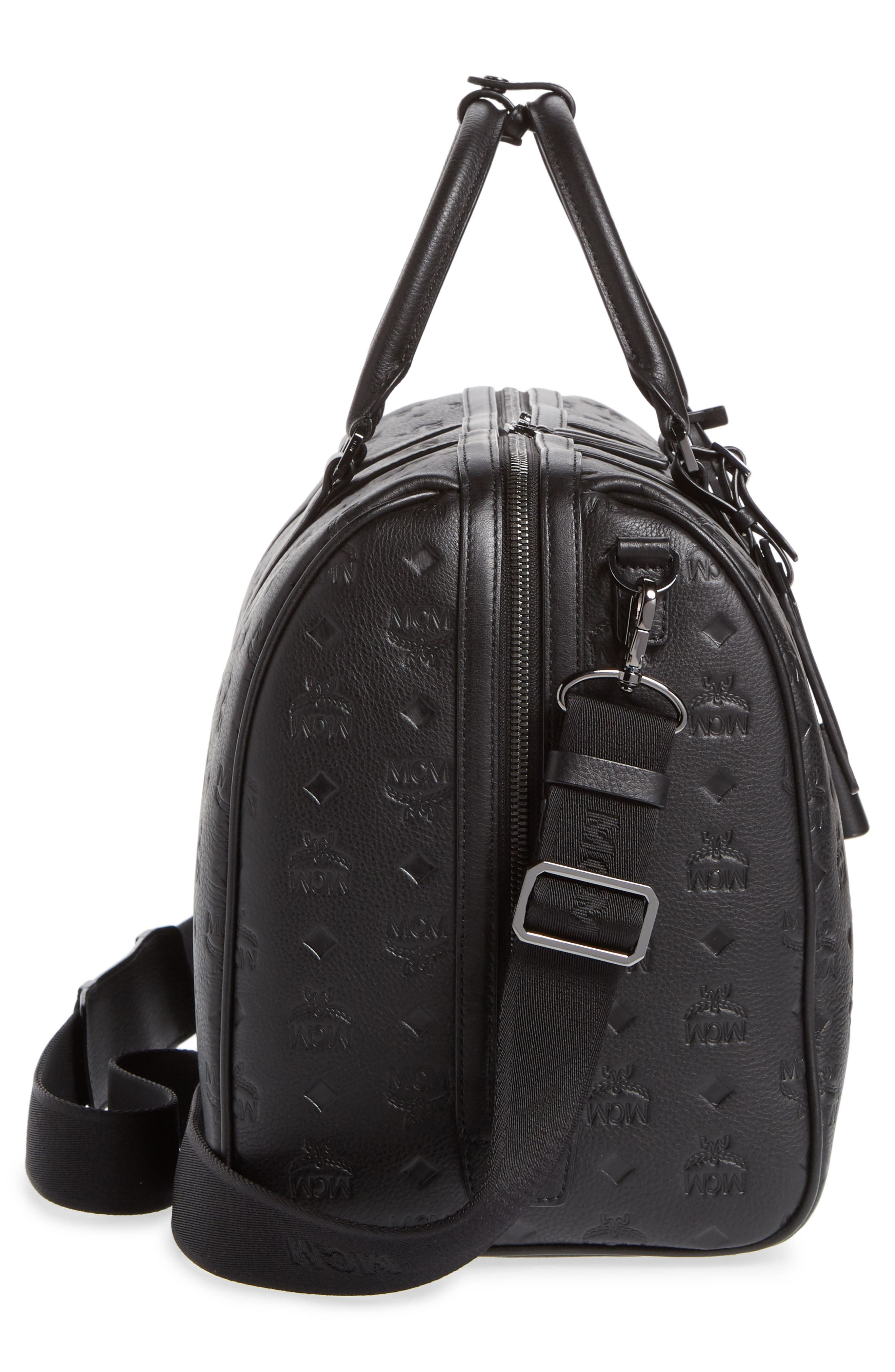 MCM,                             Ottomar Leather Duffel Bag,                             Alternate thumbnail 5, color,                             001