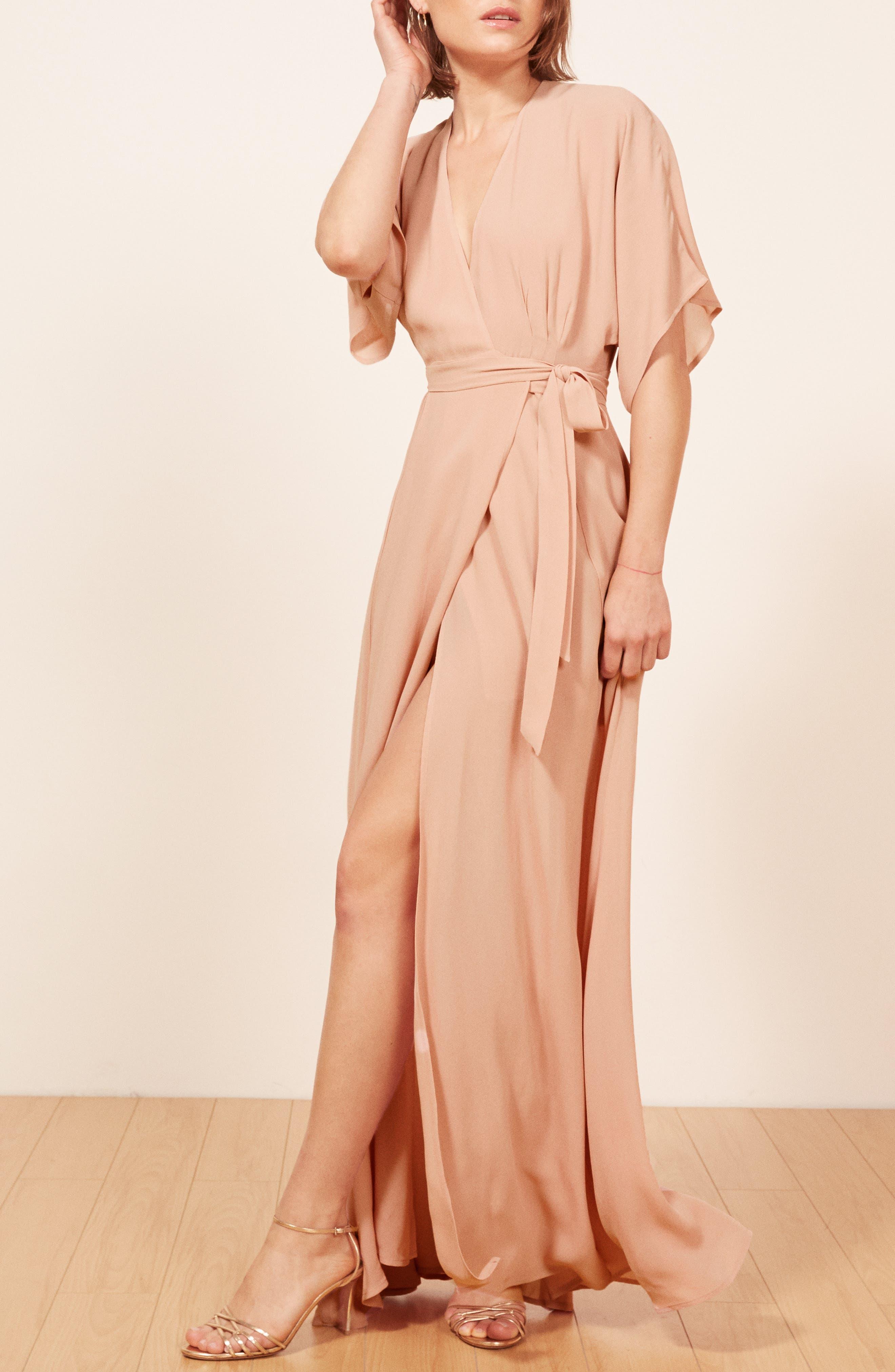 REFORMATION,                             Winslow Maxi Dress,                             Alternate thumbnail 4, color,                             BLUSH