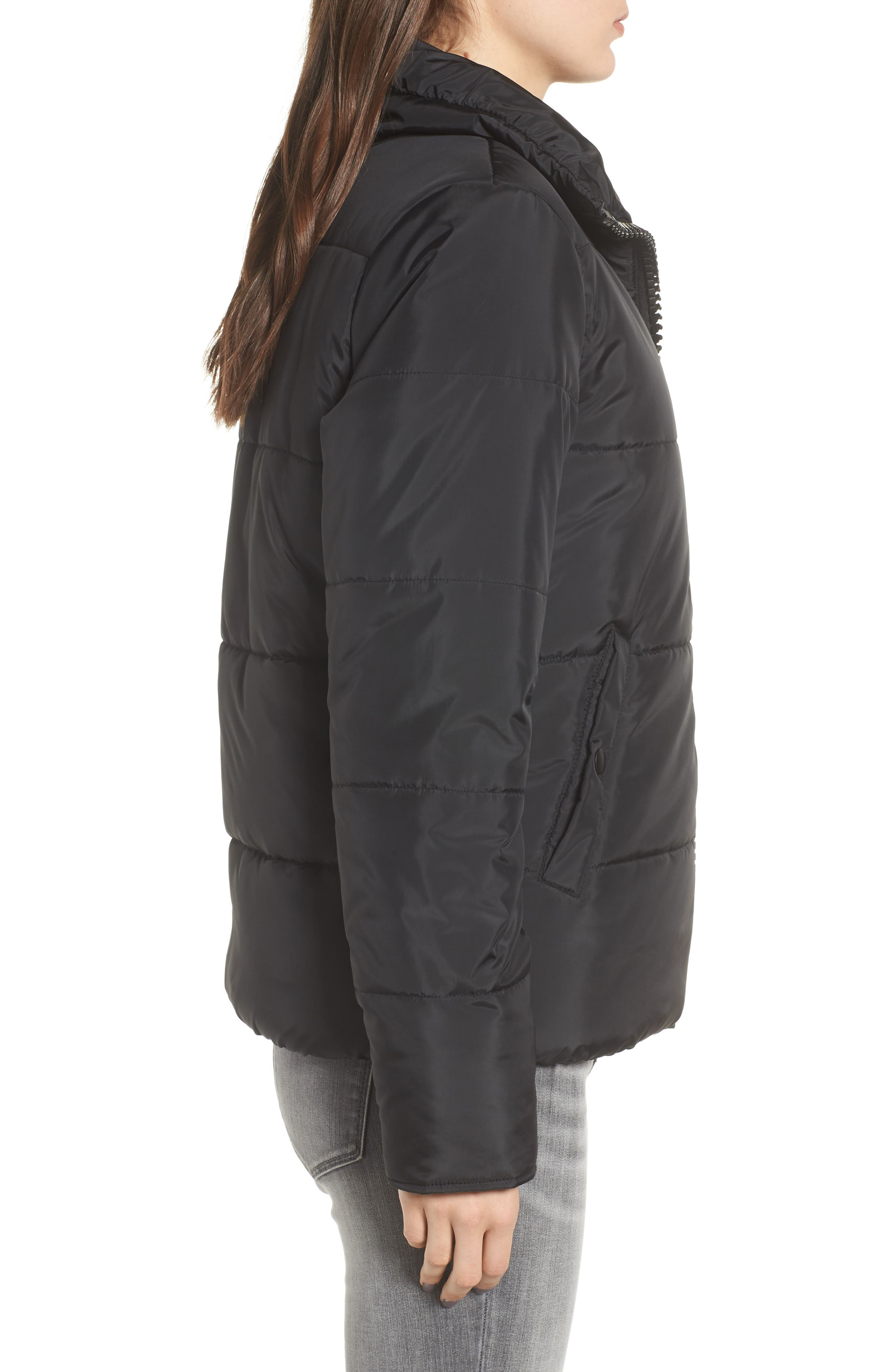 Rail Quilted Puffer Jacket,                             Alternate thumbnail 3, color,                             BLACK