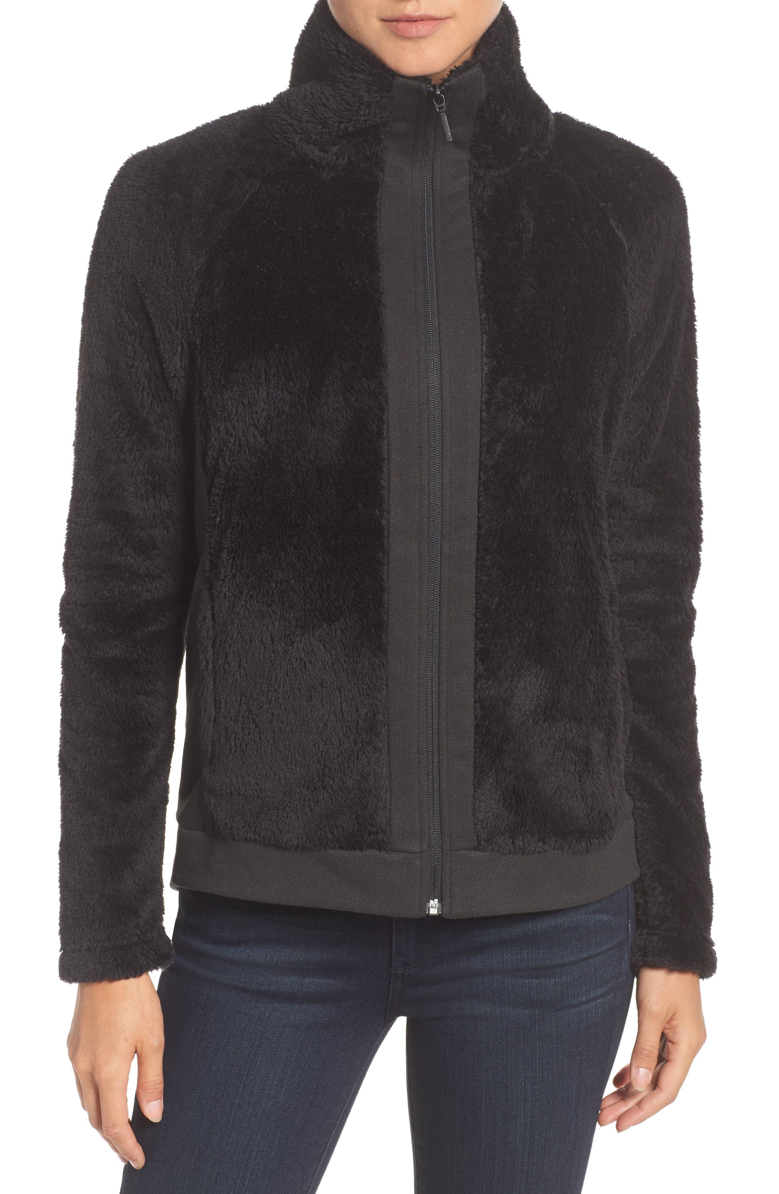 Furry Fleece Jacket,                         Main,                         color, TNF BLACK