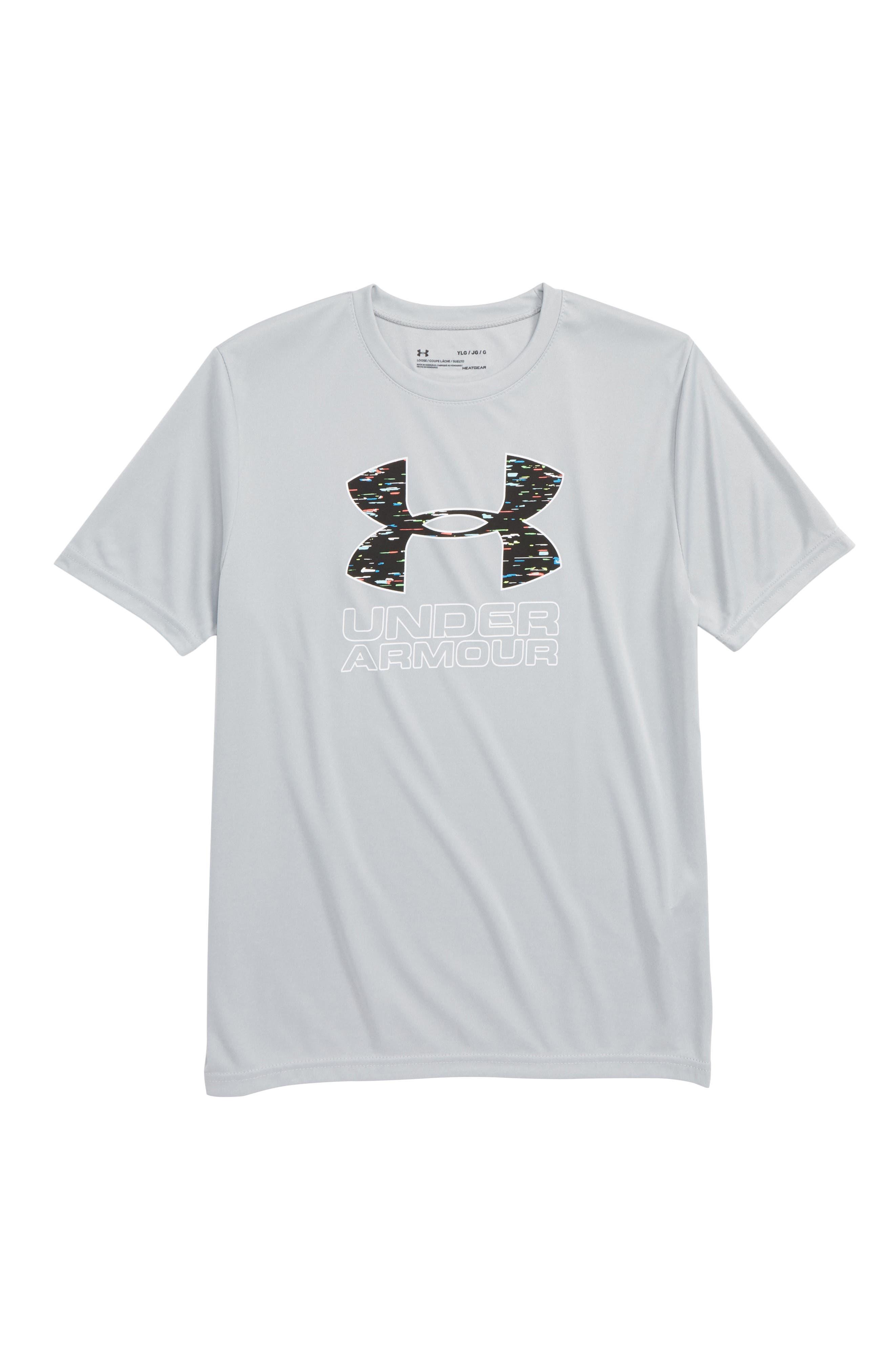 Logo HeatGear<sup>®</sup> T-Shirt,                             Main thumbnail 1, color,                             MOD GRAY LIGHT HEATHER/ WHITE