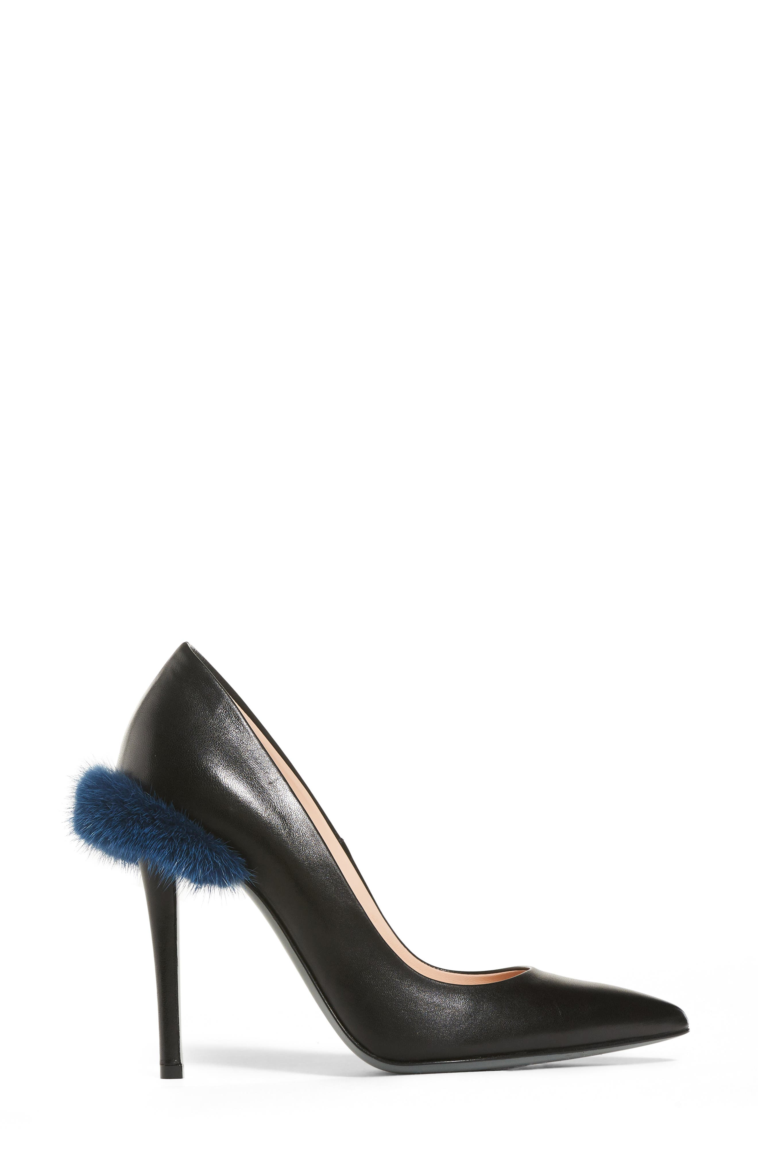 Duo Pointy Toe Pump with Genuine Mink Trim,                             Alternate thumbnail 3, color,                             009