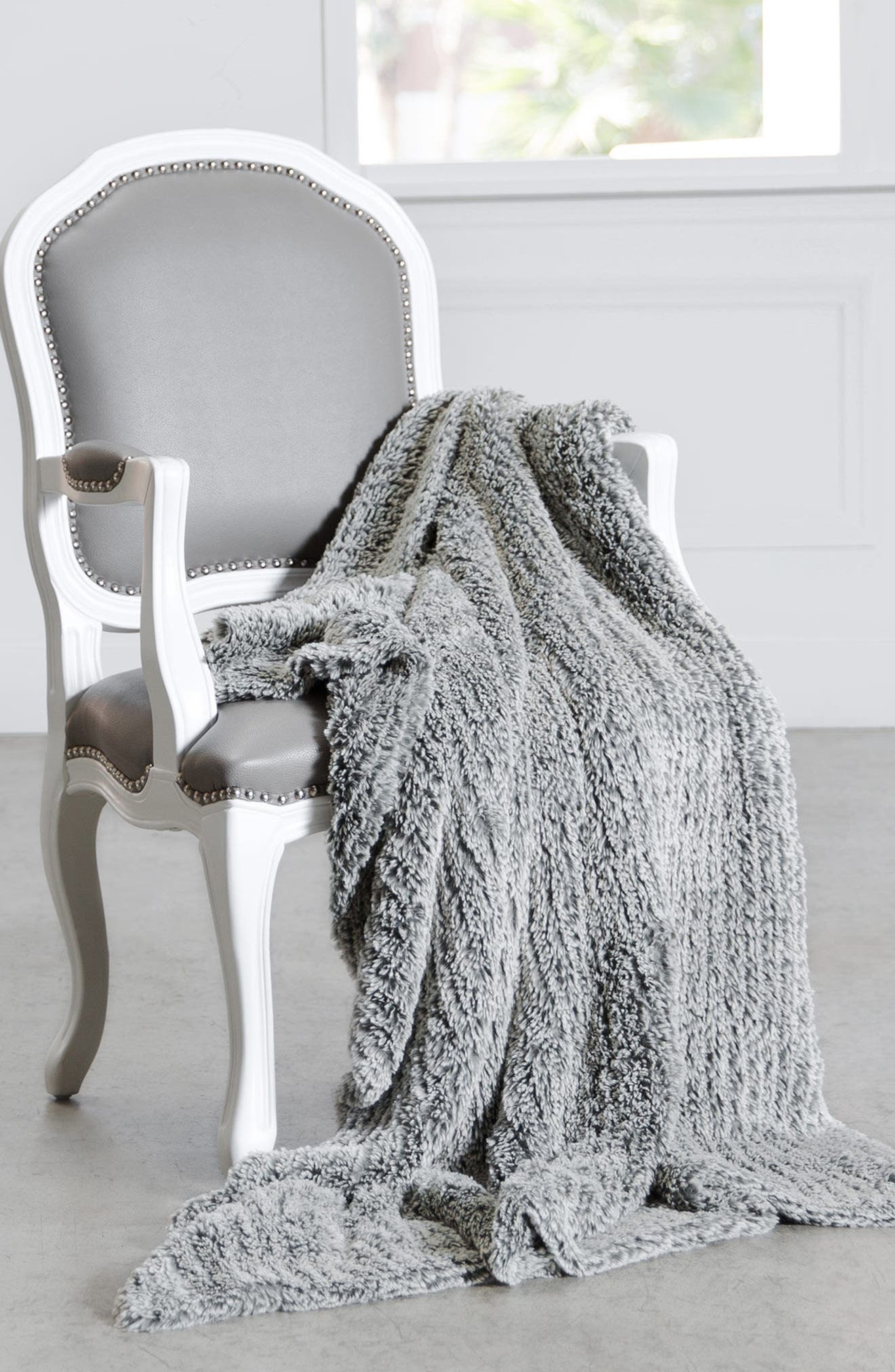 Luxe<sup>™</sup> Knit Throw Blanket,                             Alternate thumbnail 3, color,                             FOG