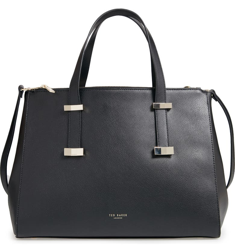 Ted Baker LARGE LEATHER TOTE - BLACK