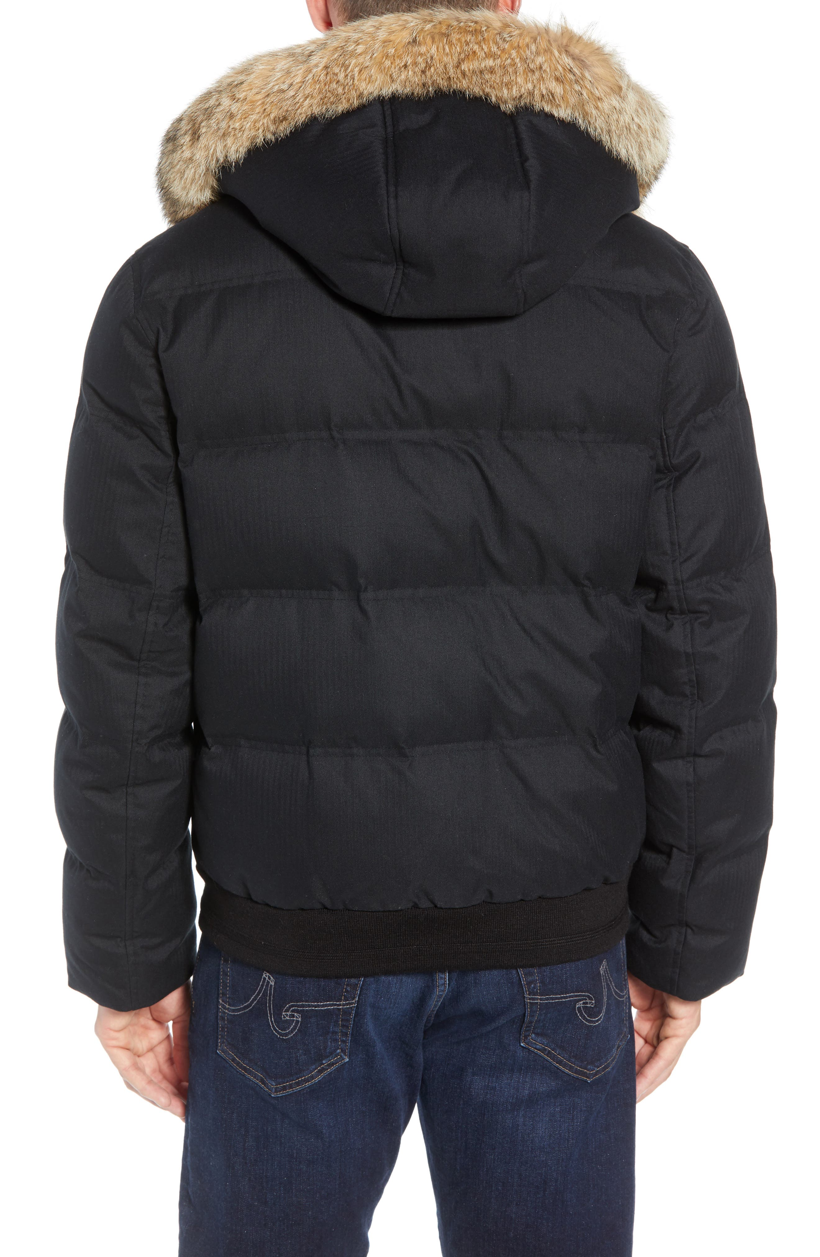 Bohlen Down & Feather Bomber Jacket with Removable Genuine Coyote Fur Trim Hood,                             Alternate thumbnail 3, color,                             BLACK