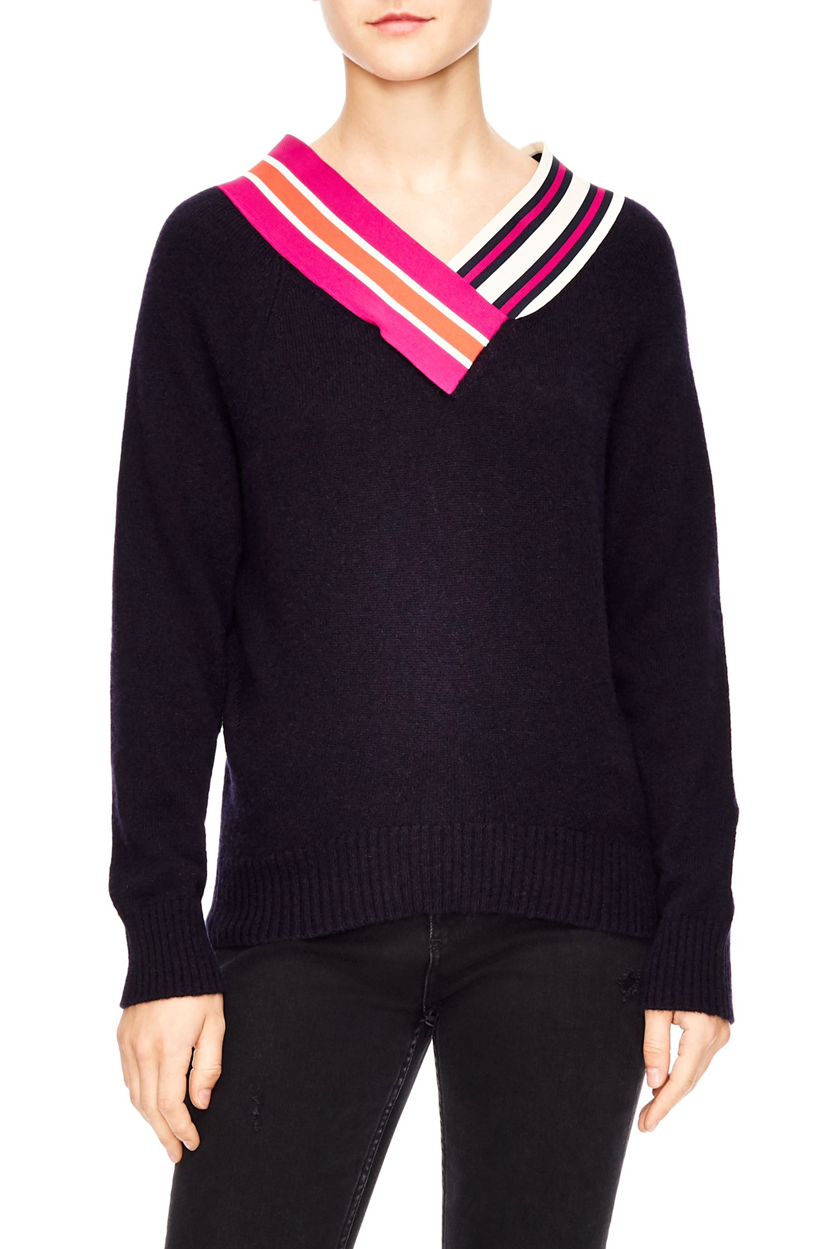 SANDRO Nepeta Striped V-Neck Sweater in Blue
