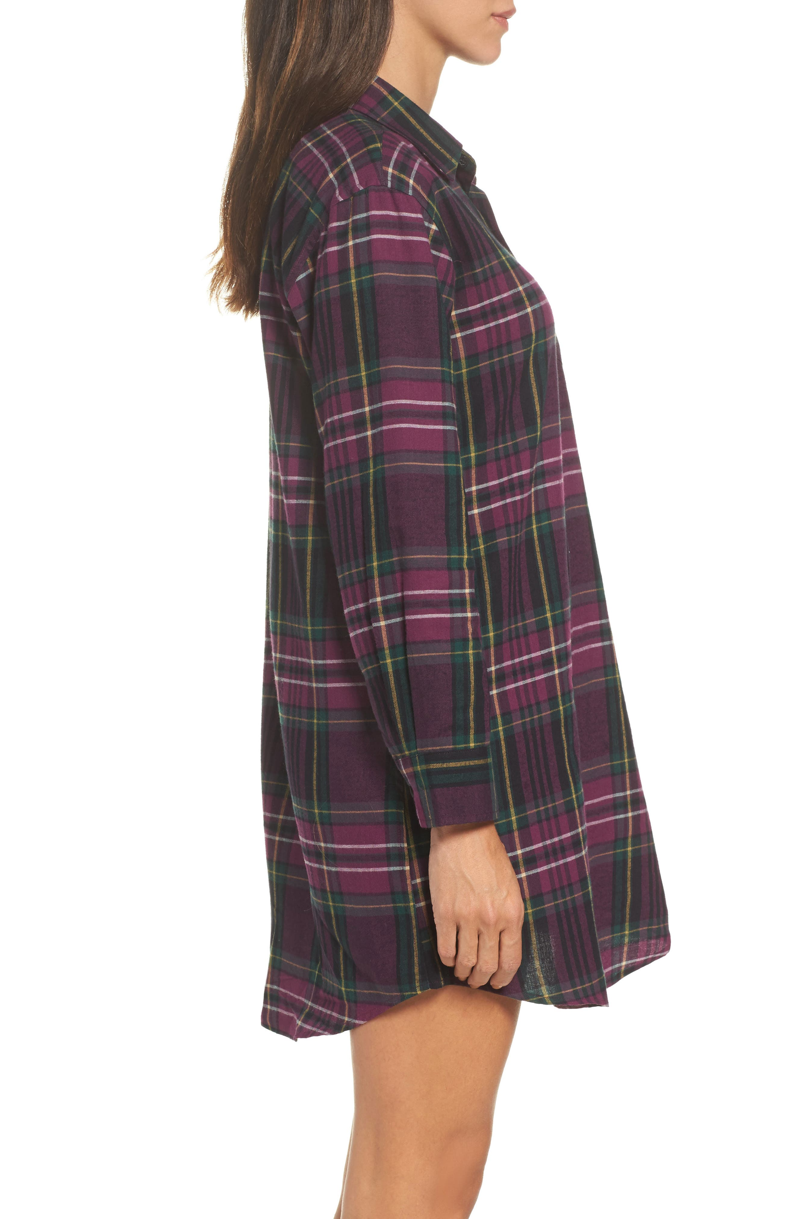 Flannel Sleep Shirt,                             Alternate thumbnail 3, color,                             500