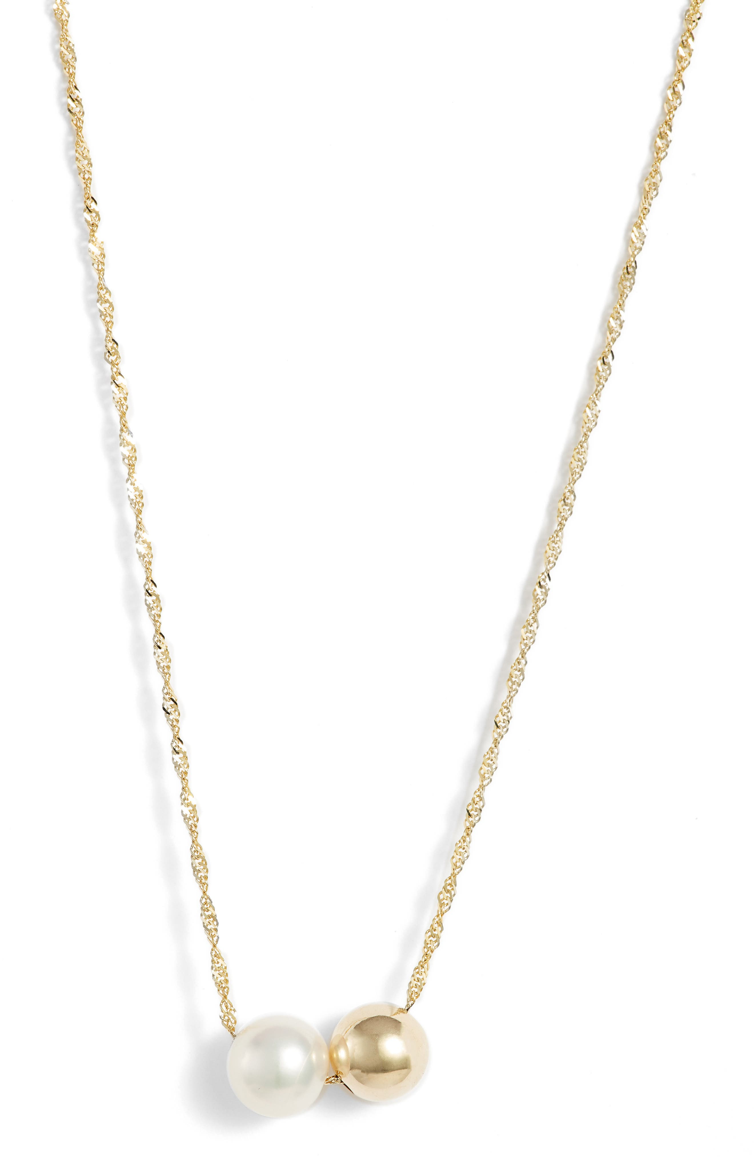 Duo Pearl Pendant Necklace,                             Main thumbnail 1, color,                             710