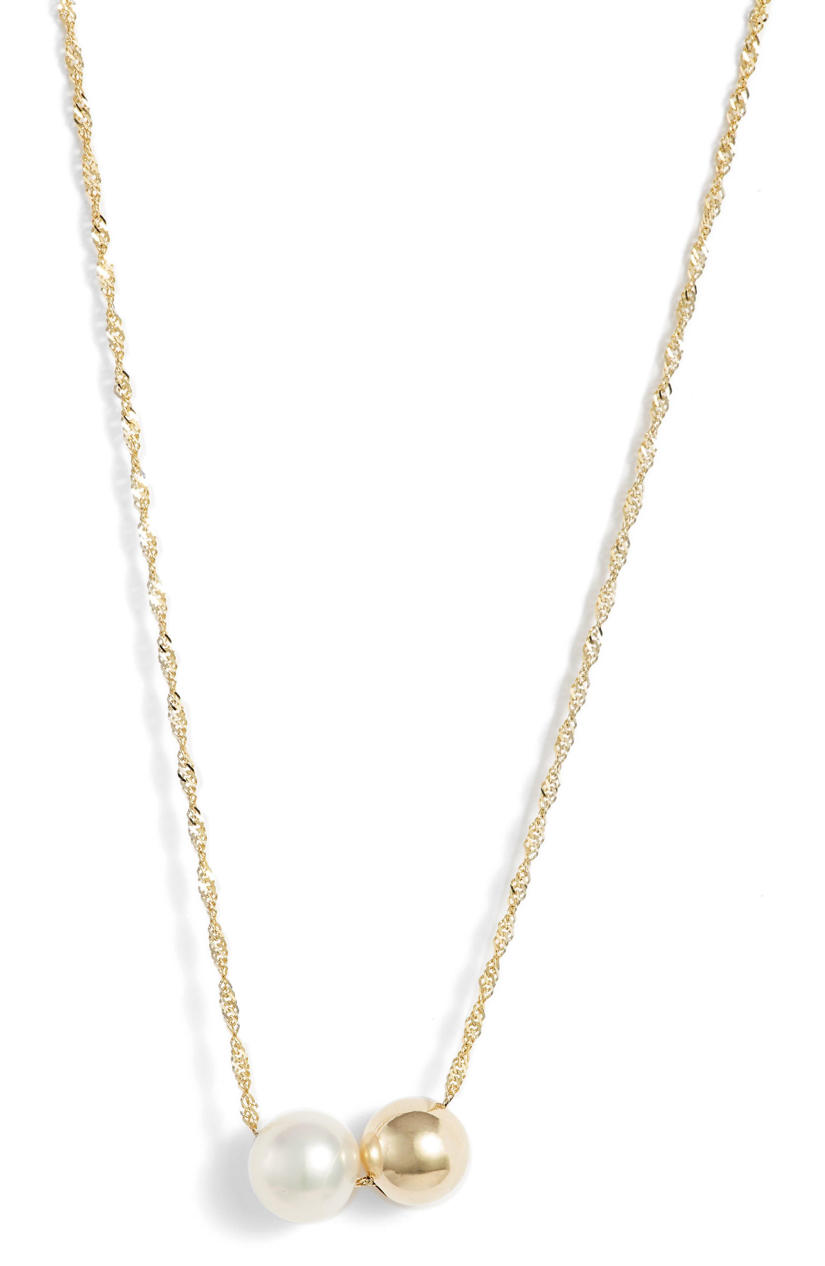 Duo Pearl Pendant Necklace,                         Main,                         color, 710