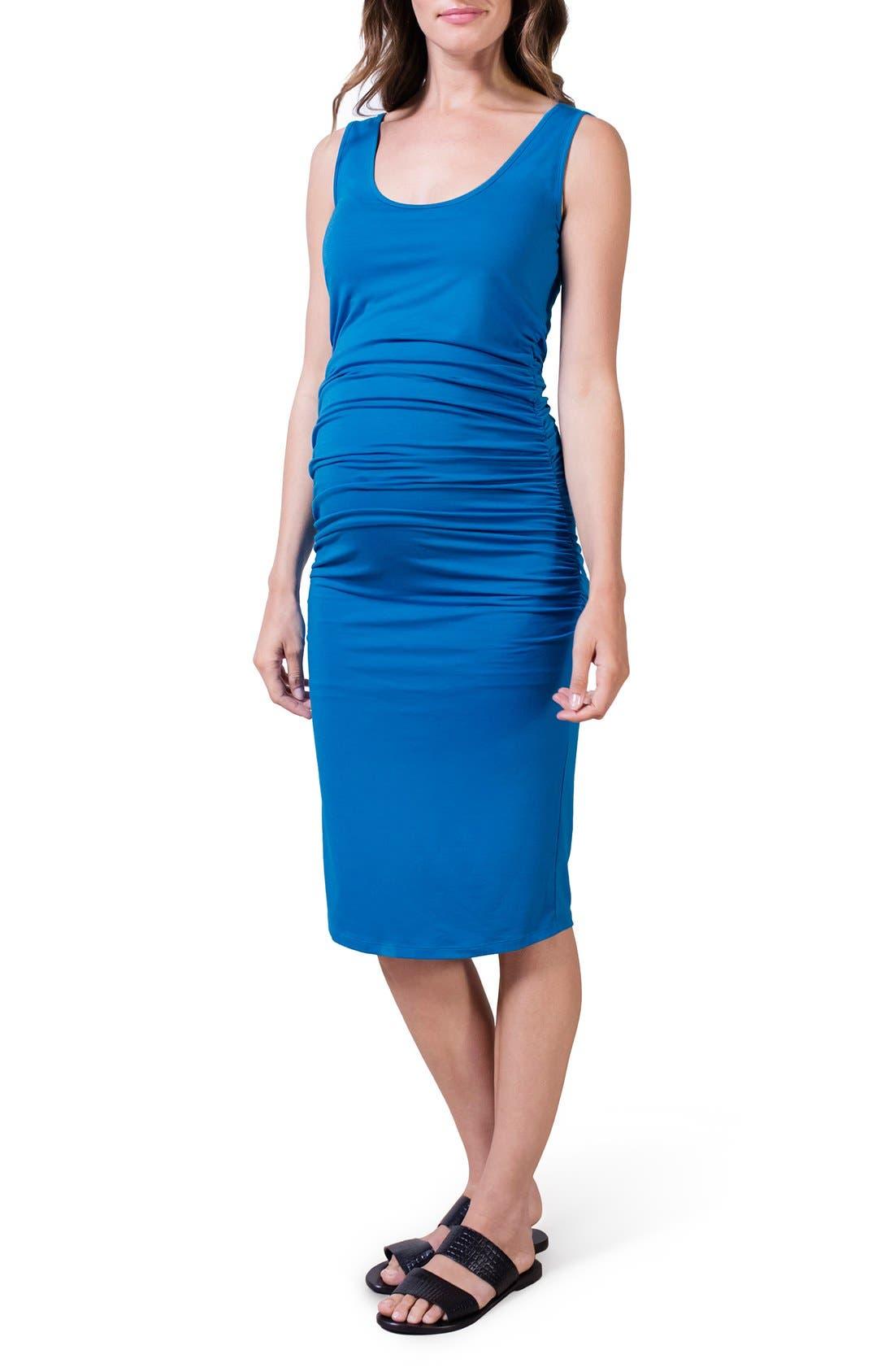 ISABELLA OLIVER,                             'Ellis' Maternity Tank Dress,                             Main thumbnail 1, color,                             PEACOCK BLUE