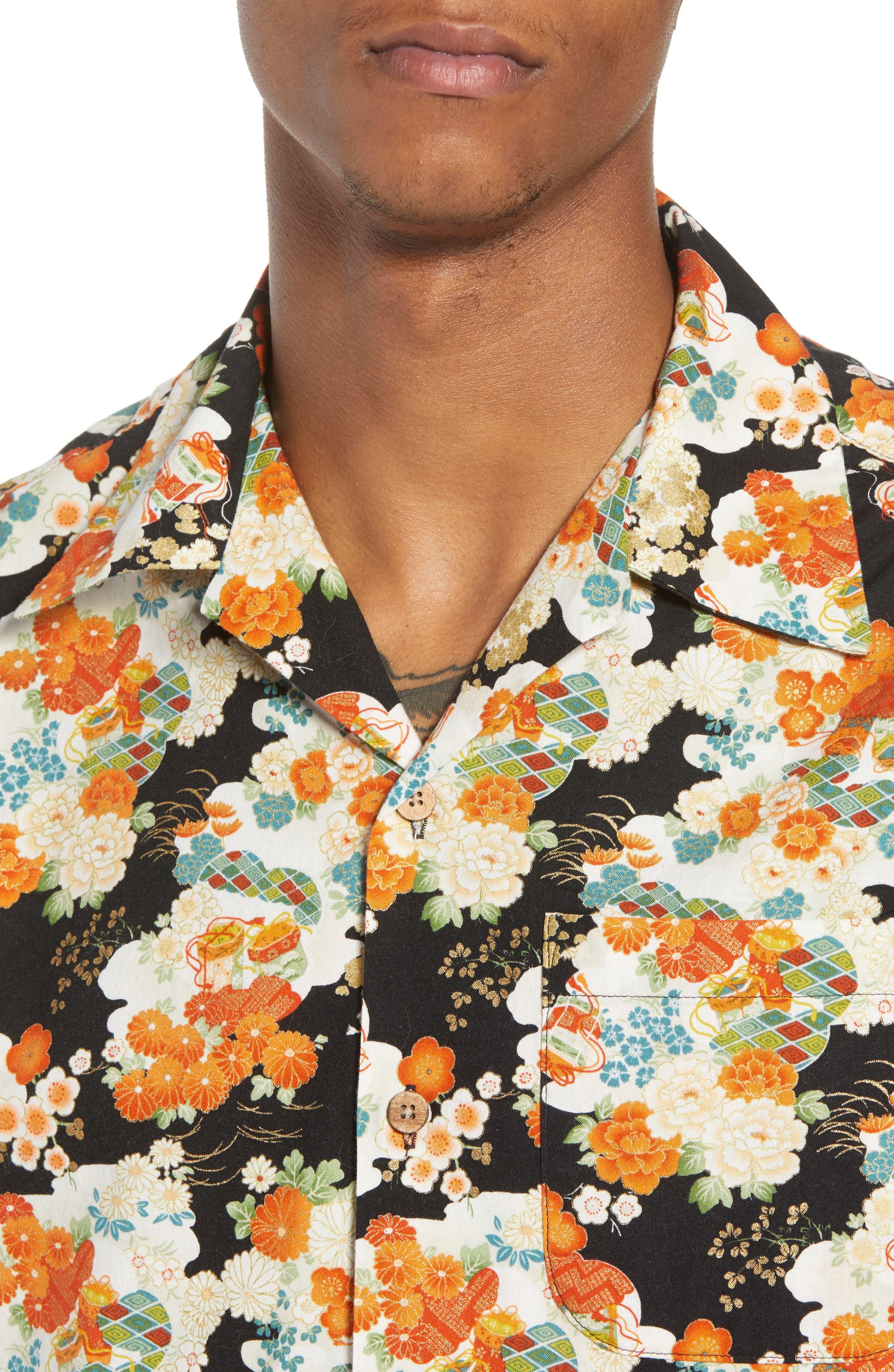 Japanese Aloha Festival Woven Shirt,                             Alternate thumbnail 4, color,                             001