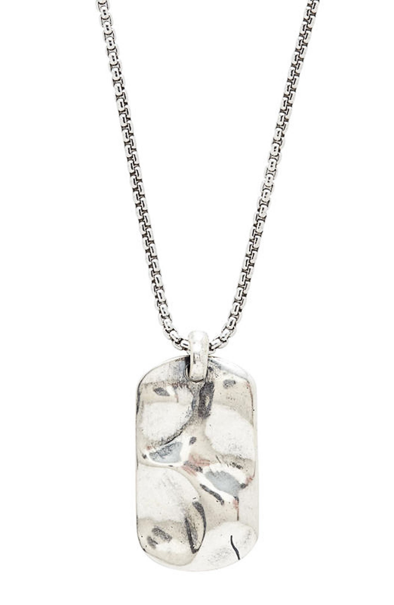 Hammered Dog Tag Necklace,                         Main,                         color, SILVER