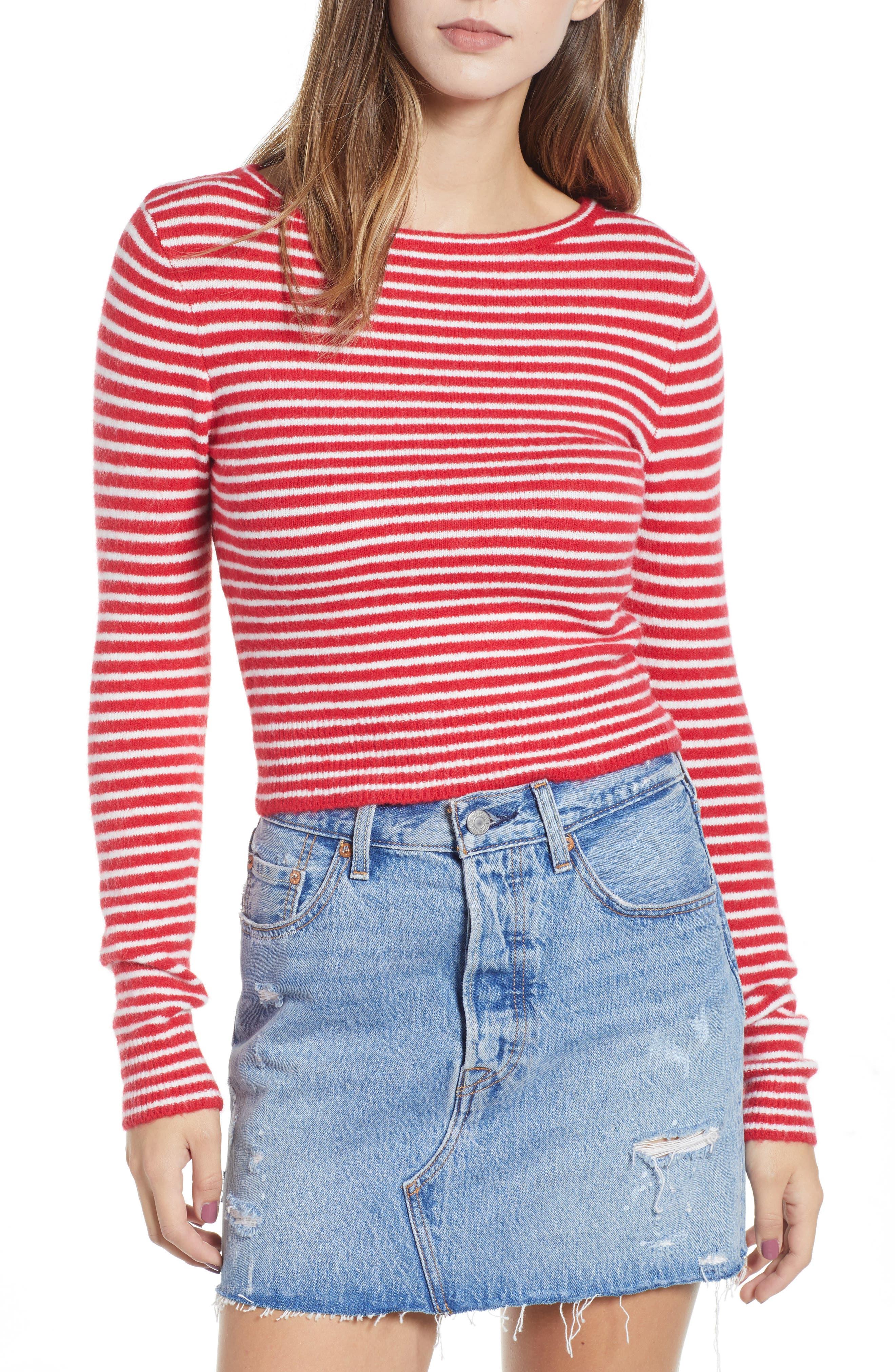 AMUSE SOCIETY Nova Stripe Crop Sweater in Red