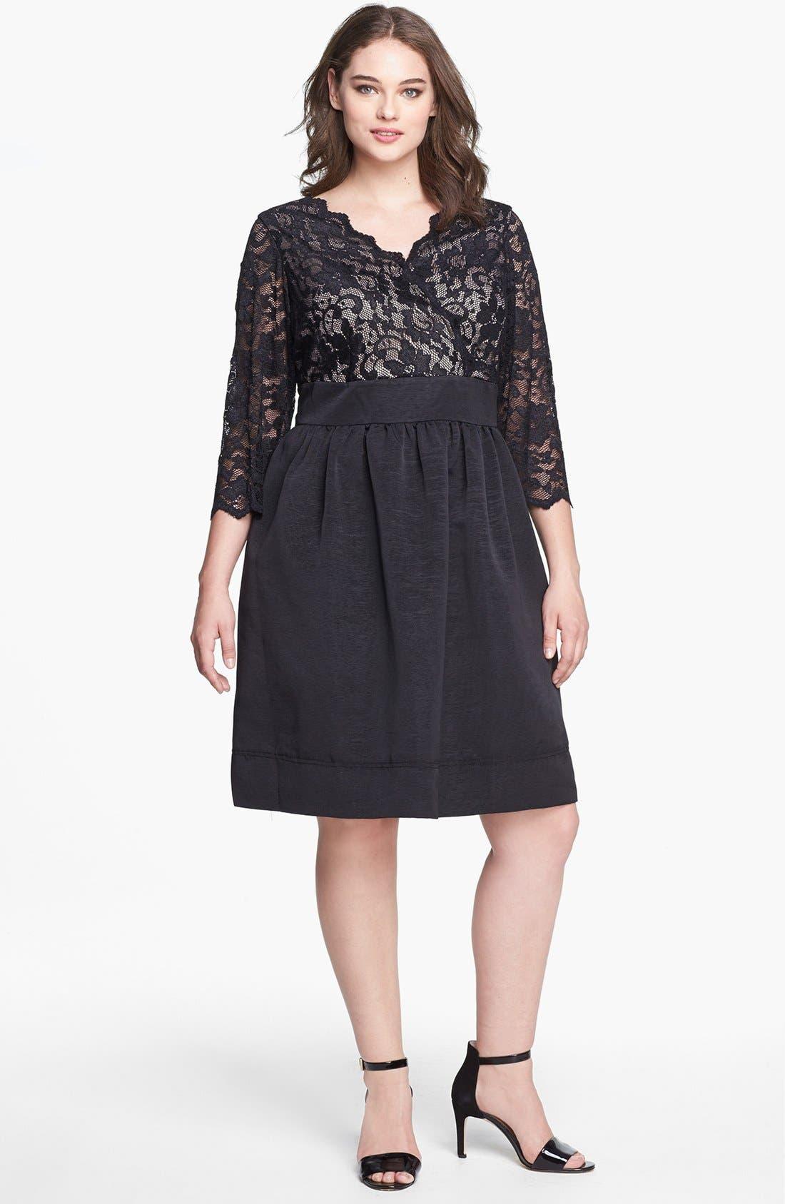 Lace & Faille Dress,                         Main,                         color,