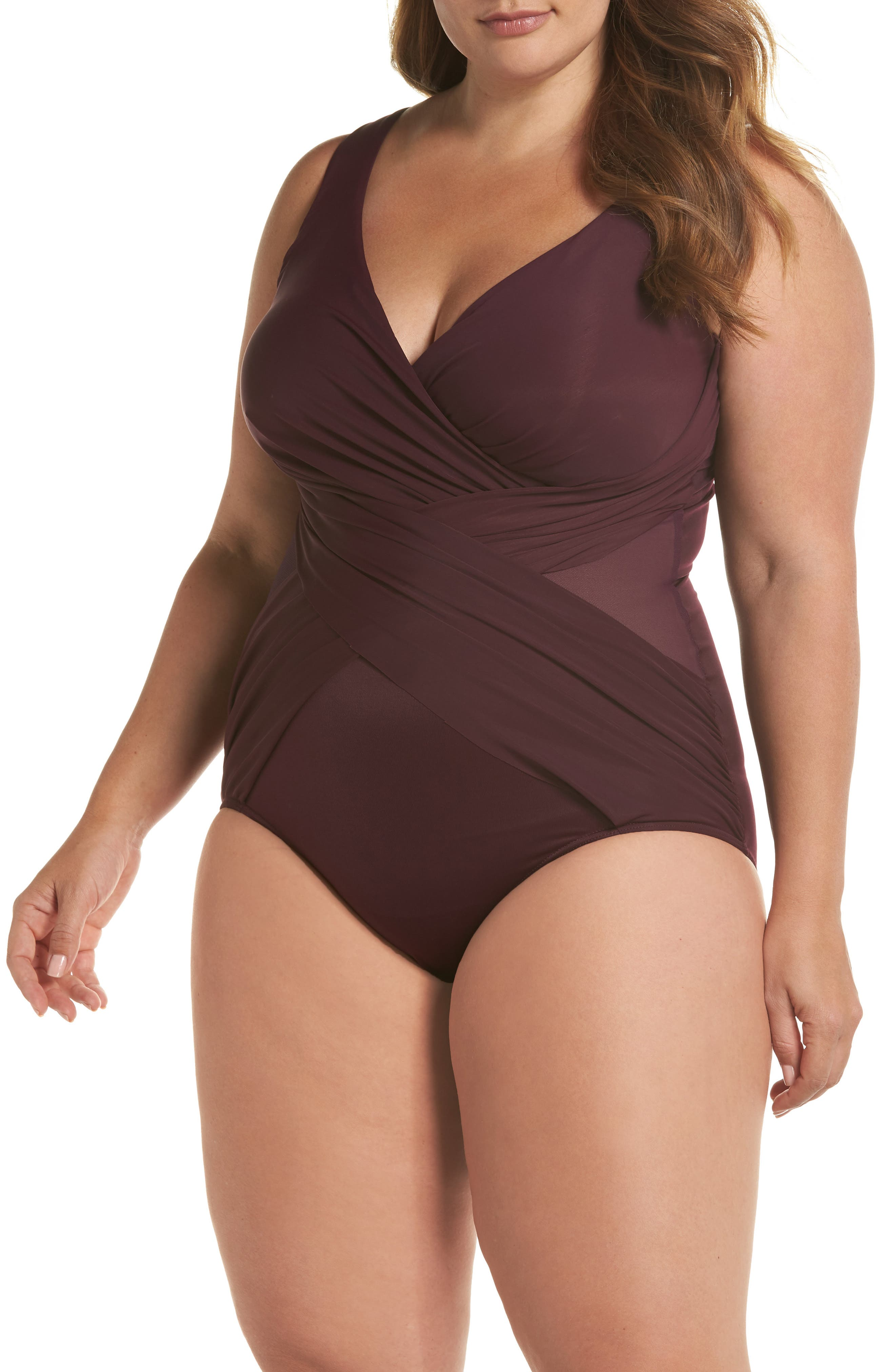 Illusionist Crossover One-Piece Swimsuit,                         Main,                         color, SHIRAZ