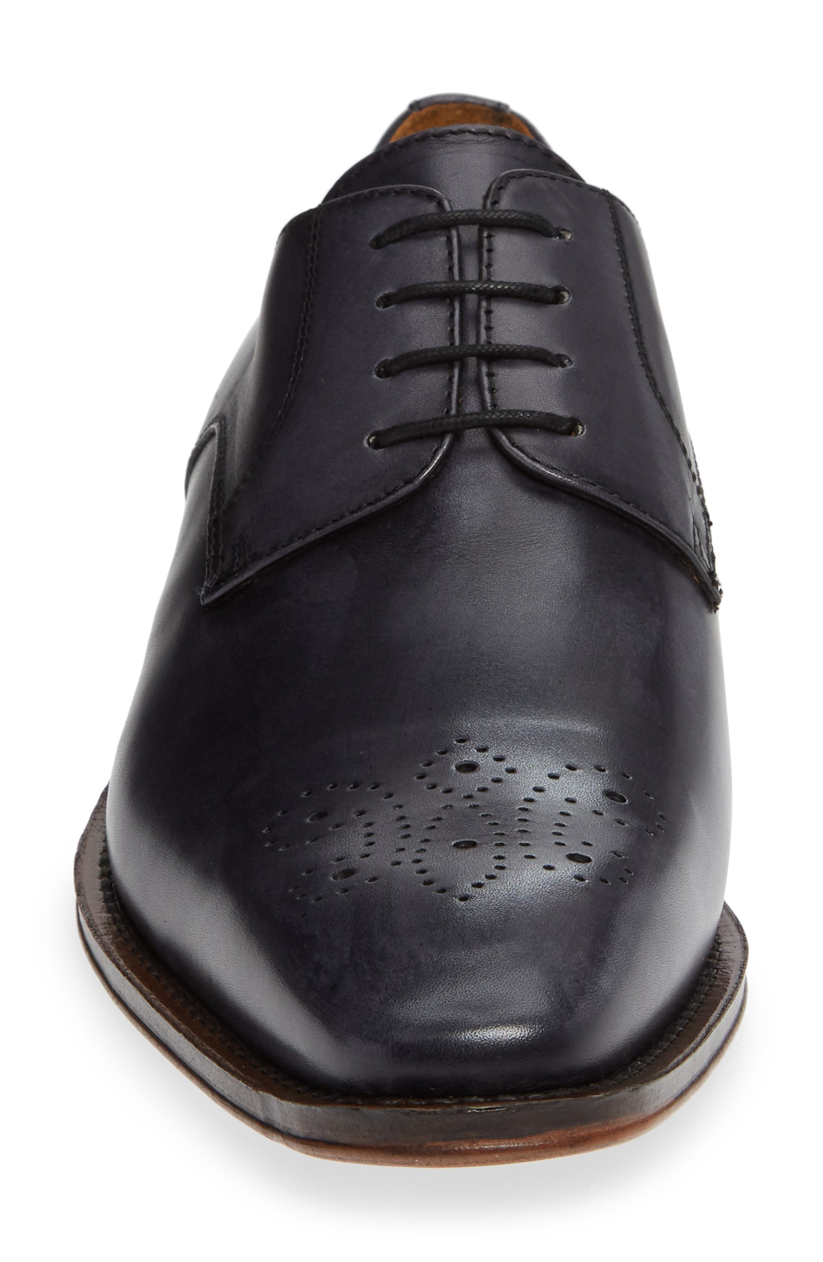 Fiore Medallion Toe Derby,                             Alternate thumbnail 4, color,                             GREY LEATHER