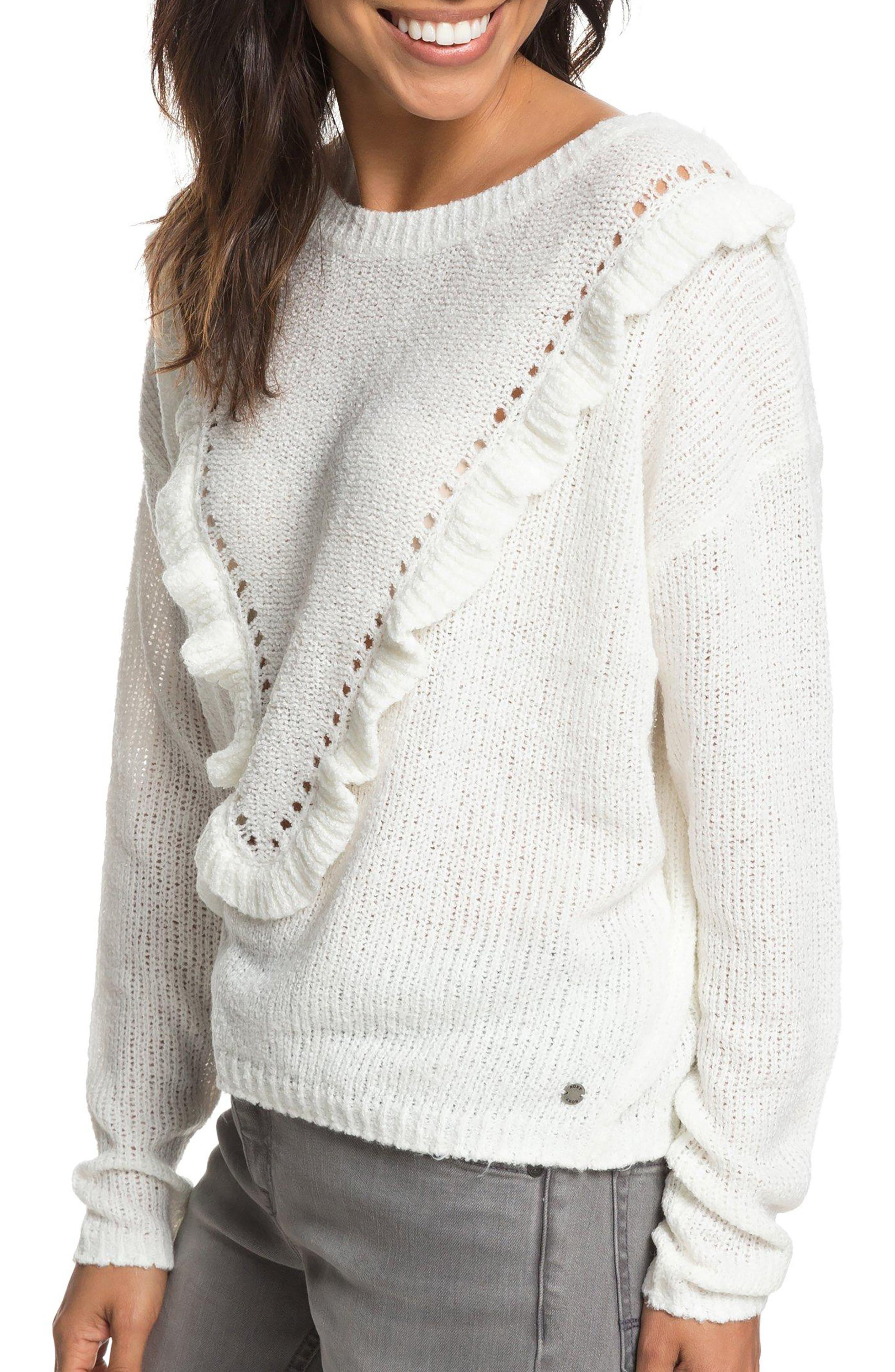 One Fine Stay Ruffle Sweater,                             Alternate thumbnail 3, color,                             MARSHMALLOW