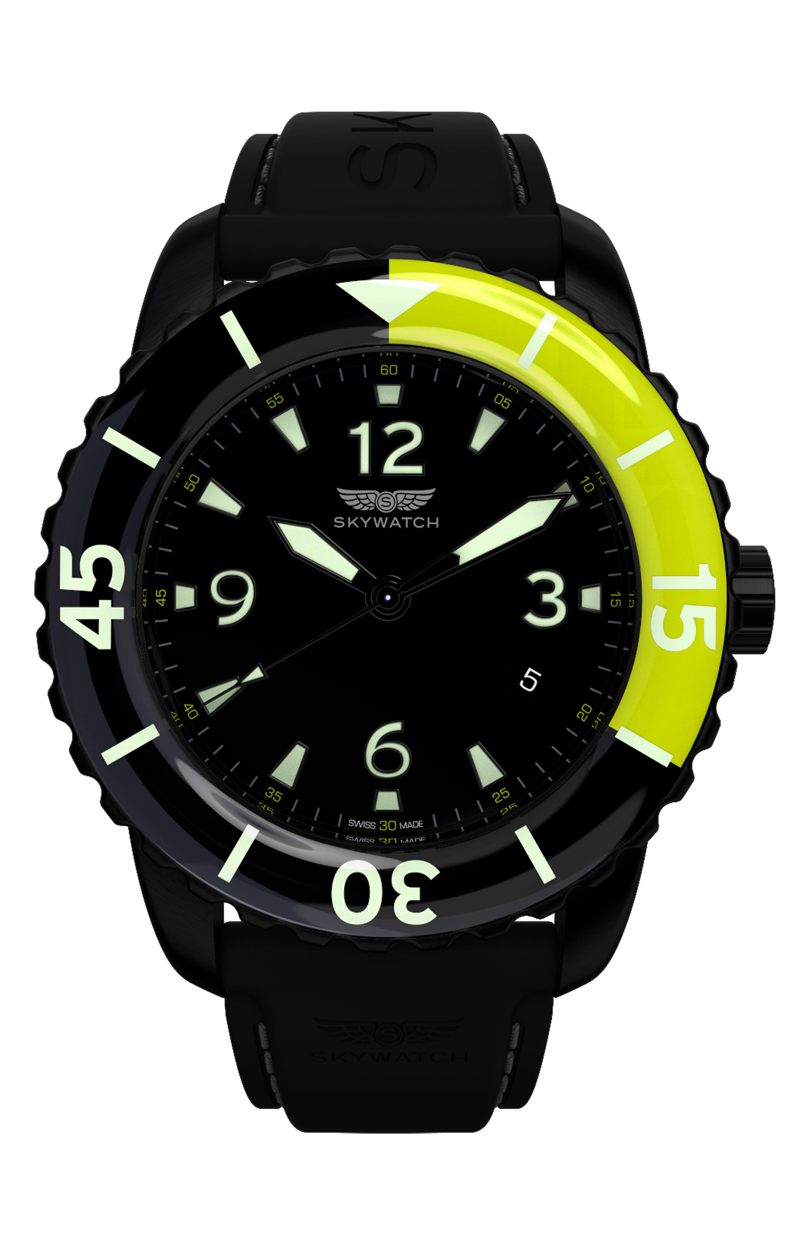 Classic Rubber Strap Watch, 44mm,                         Main,                         color, BLACK/ BLACK