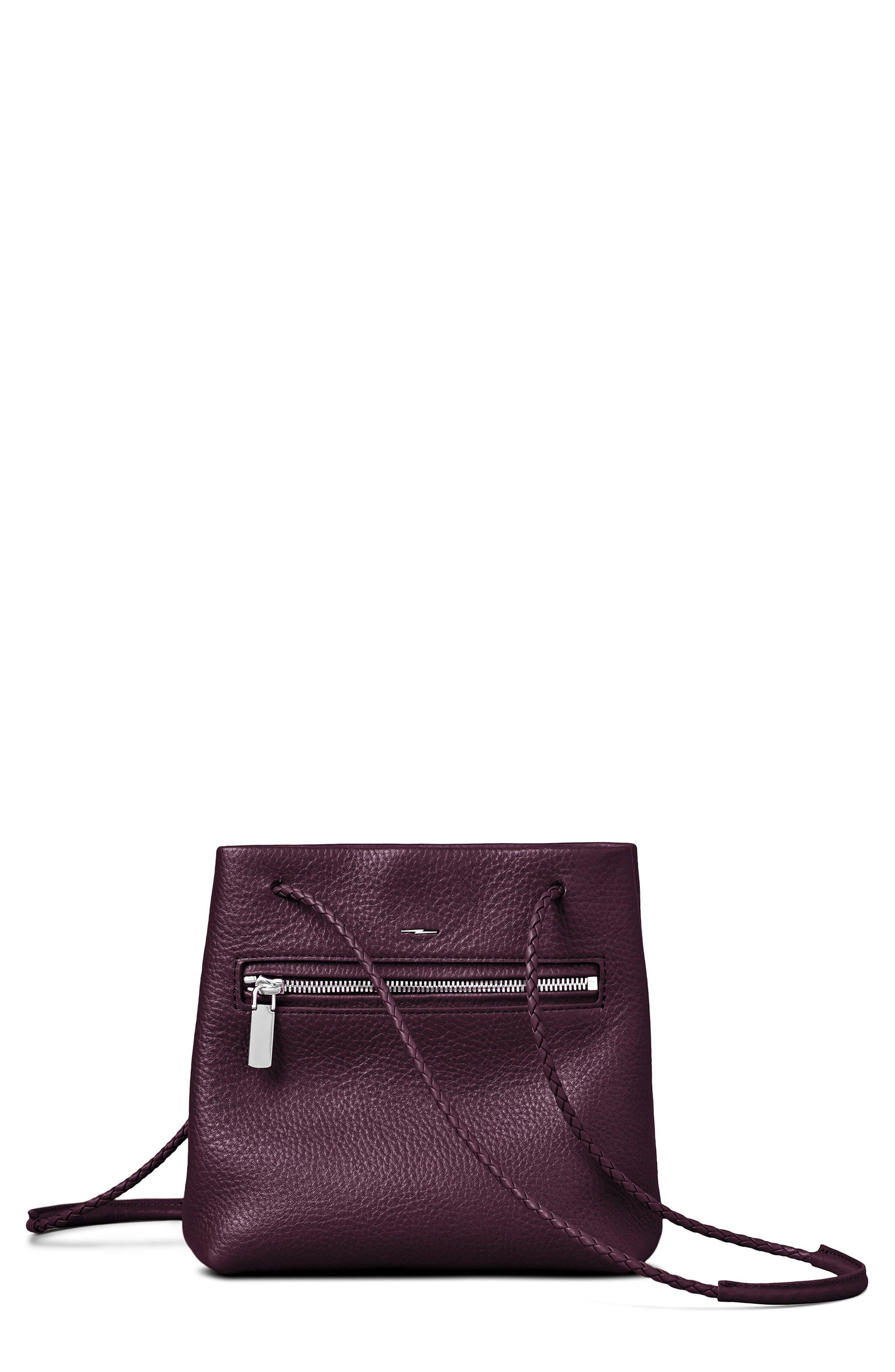 Mini Pebbled Leather Drawstring Crossbody Bag,                             Main thumbnail 3, color,