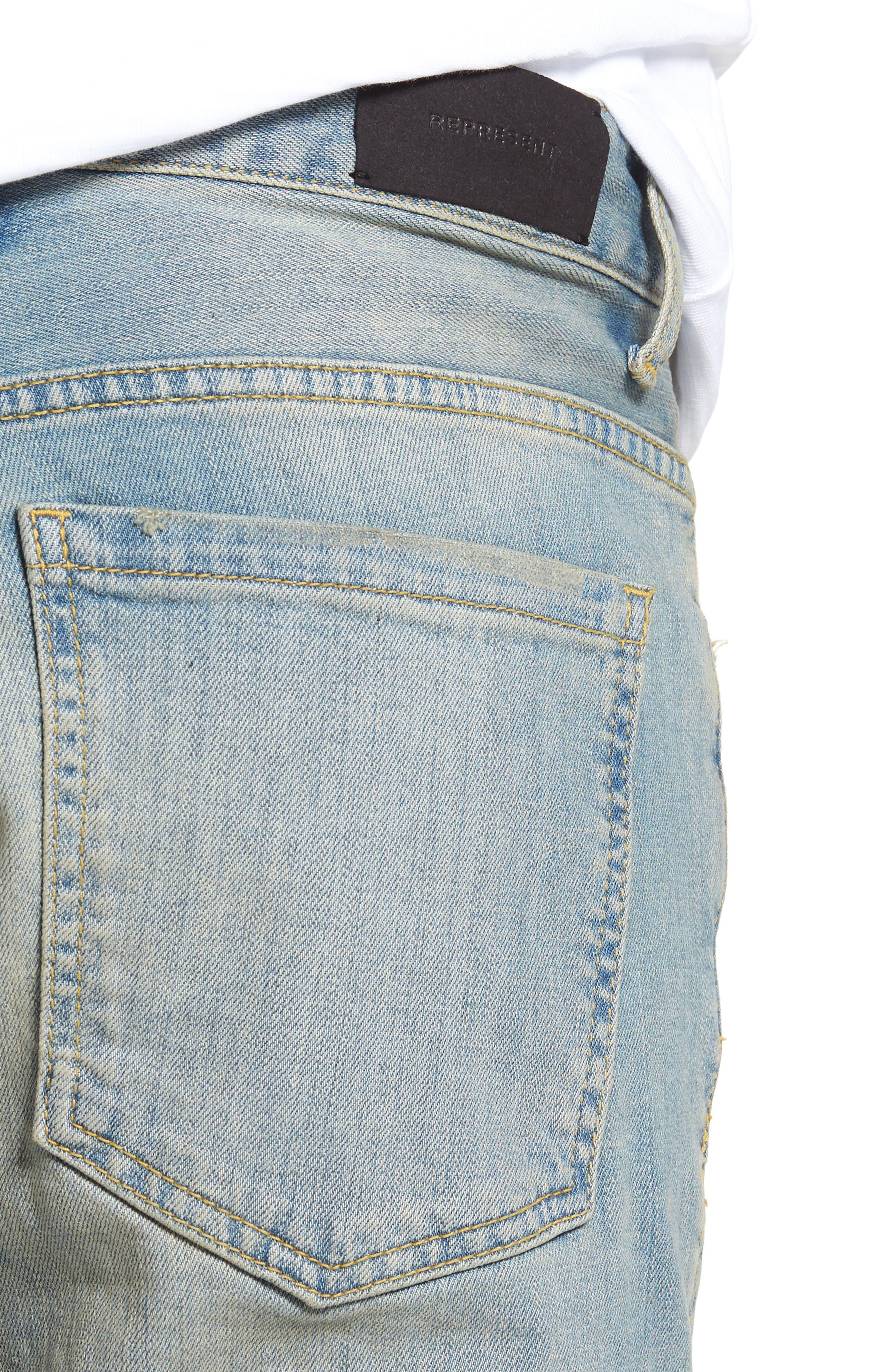 Slim Fit Distressed Jeans,                             Alternate thumbnail 8, color,