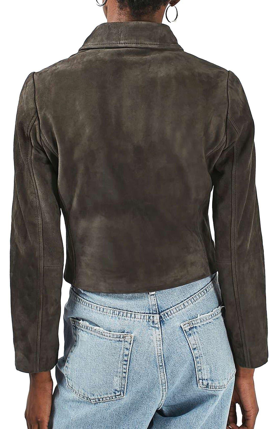 'Julie' Suede Moto Jacket,                             Alternate thumbnail 5, color,                             021