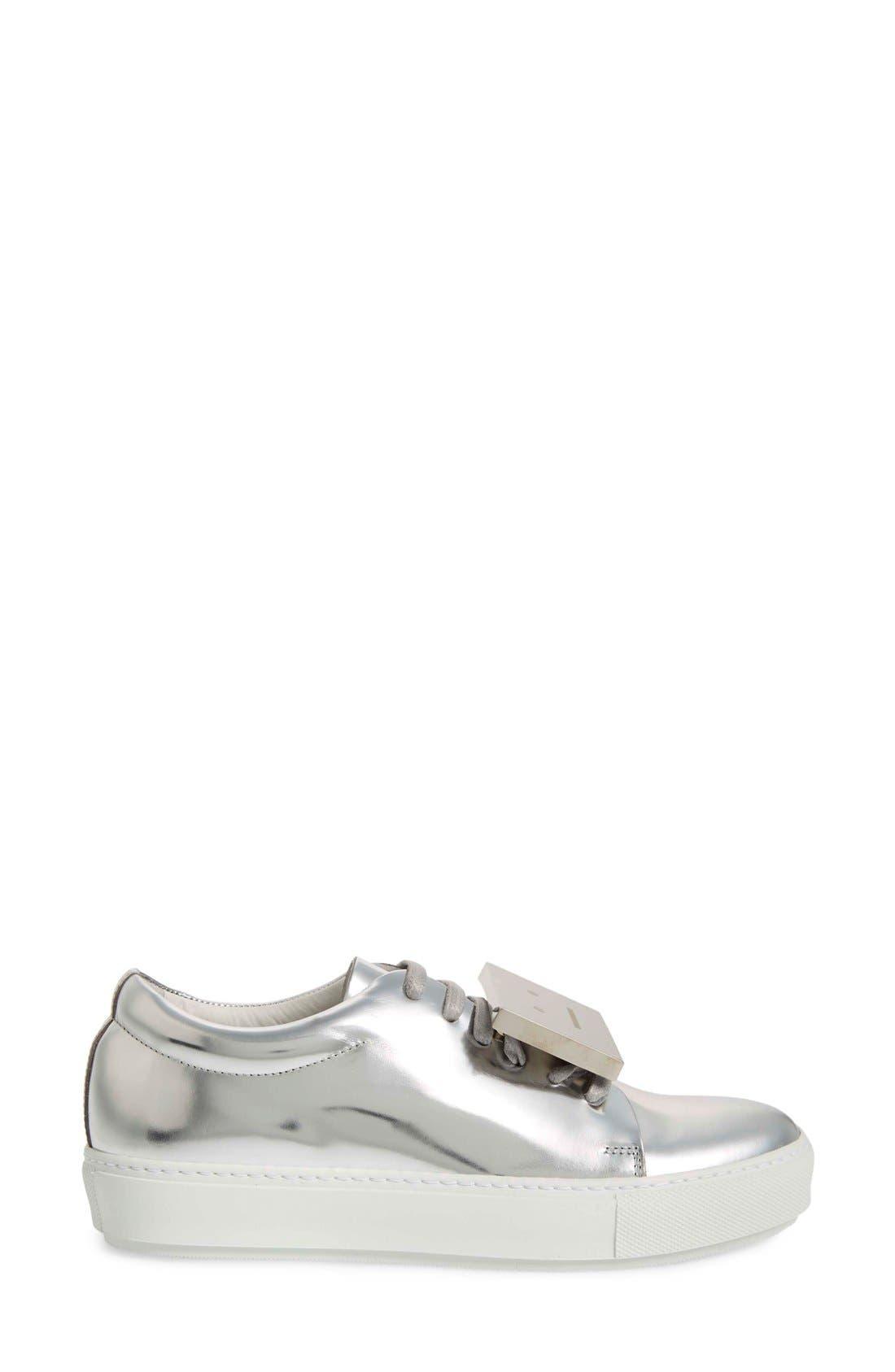 Adriana Silver Metallic Sneaker,                             Alternate thumbnail 4, color,                             044