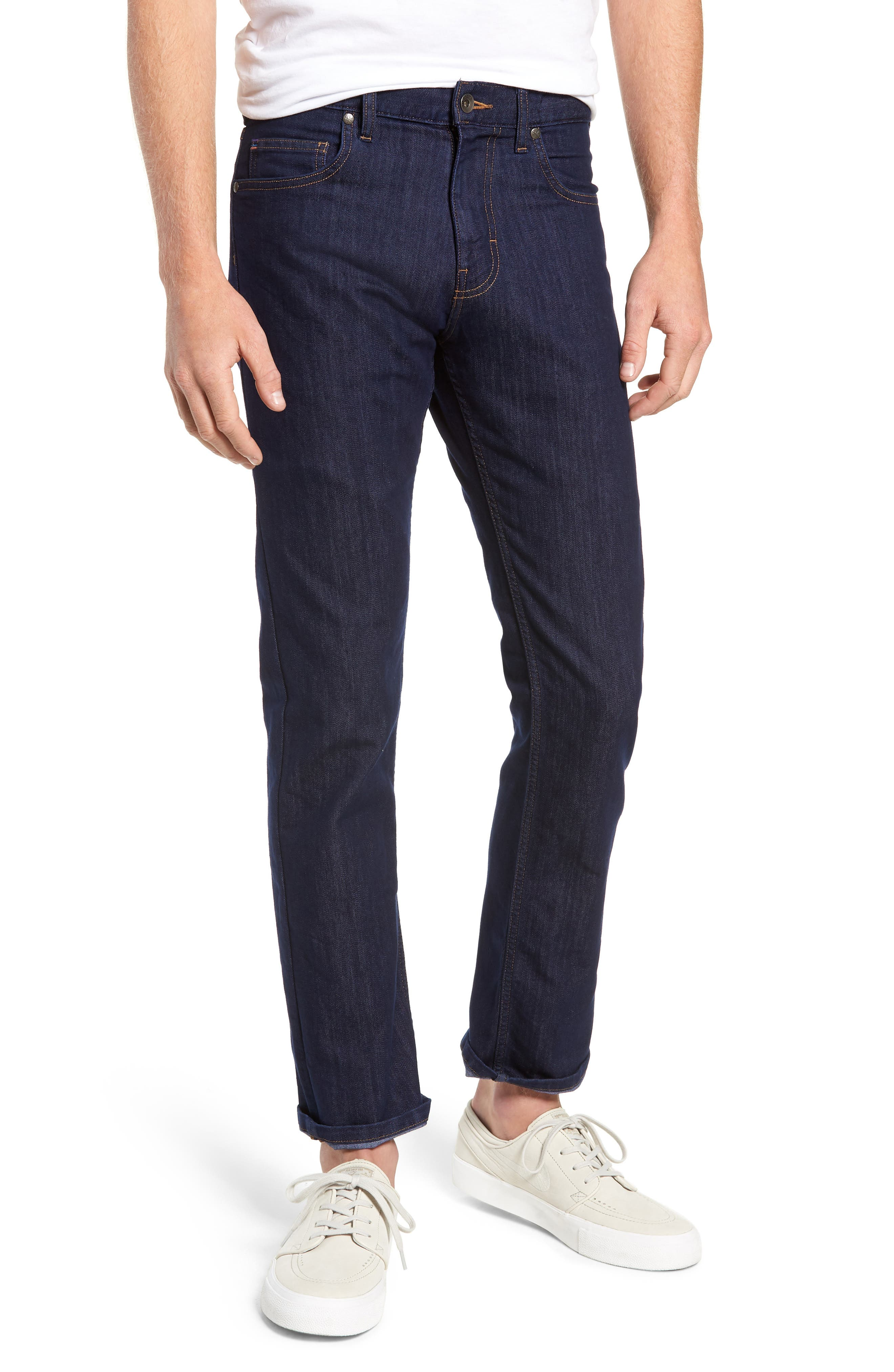 Straight Leg Performance Jeans,                         Main,                         color, DARK DENIM
