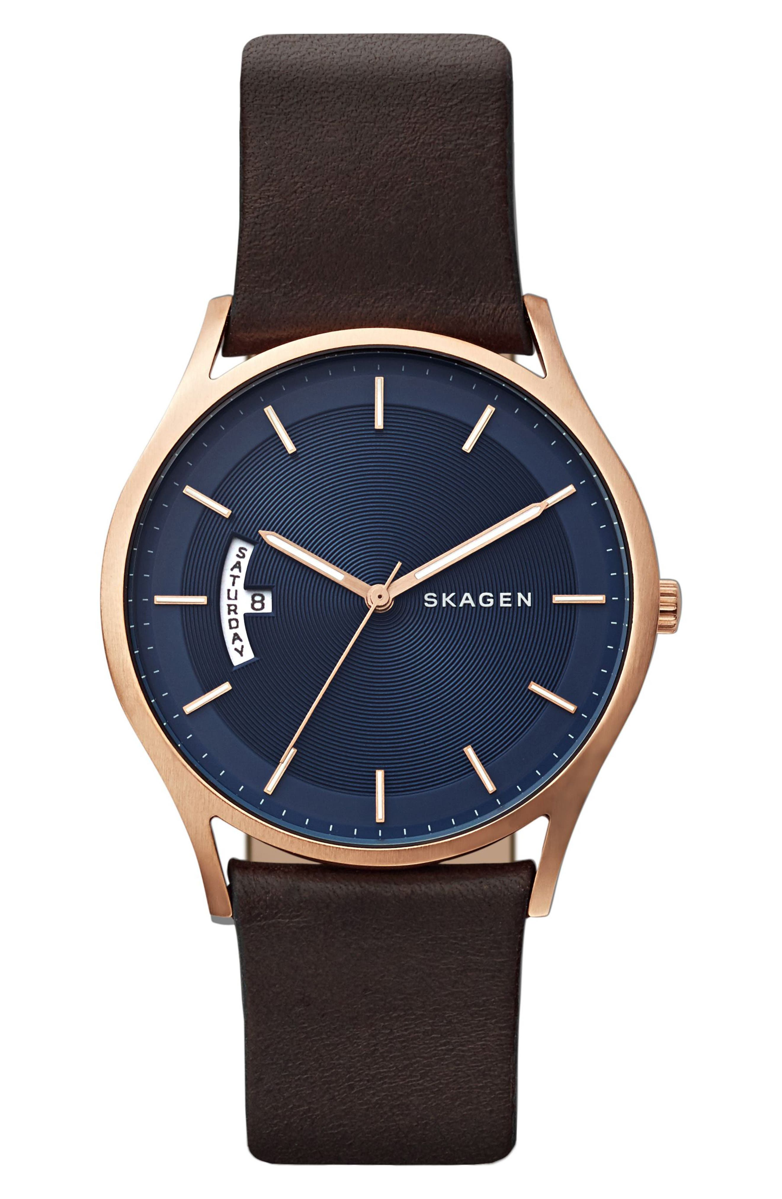 Holst Leather Strap Watch, 40mm,                             Main thumbnail 1, color,                             BROWN/ BLUE/ ROSE GOLD
