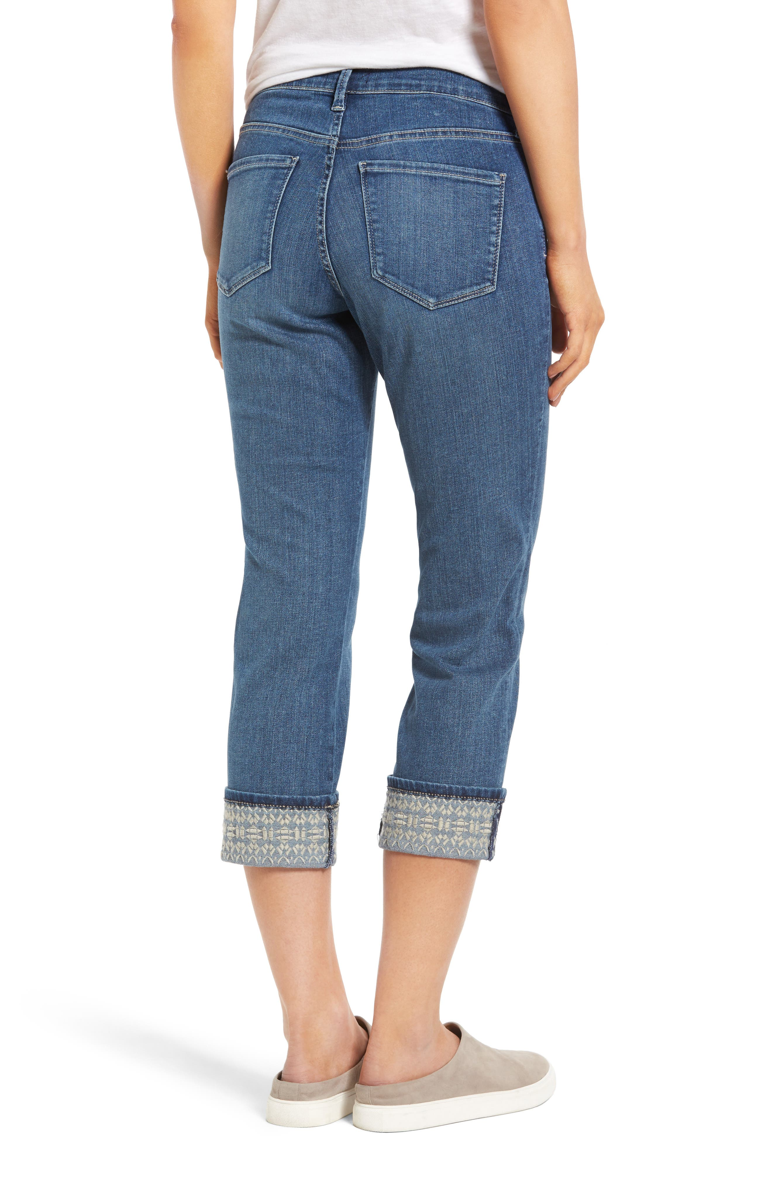 Dayla Embroidered Wide Cuff Capri Jeans,                             Alternate thumbnail 2, color,                             421