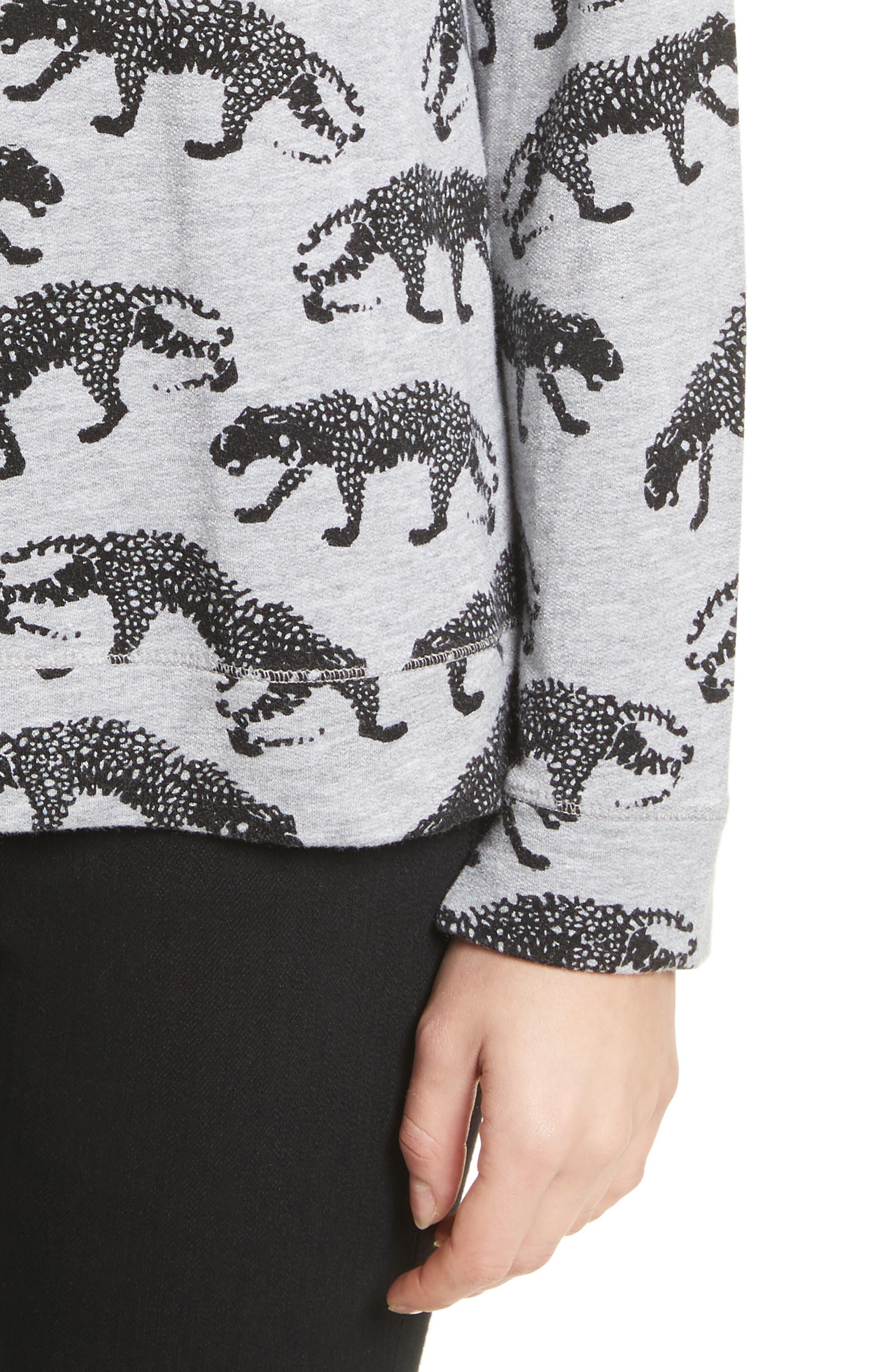 Annora B Animal Print Sweatshirt,                             Alternate thumbnail 4, color,                             033