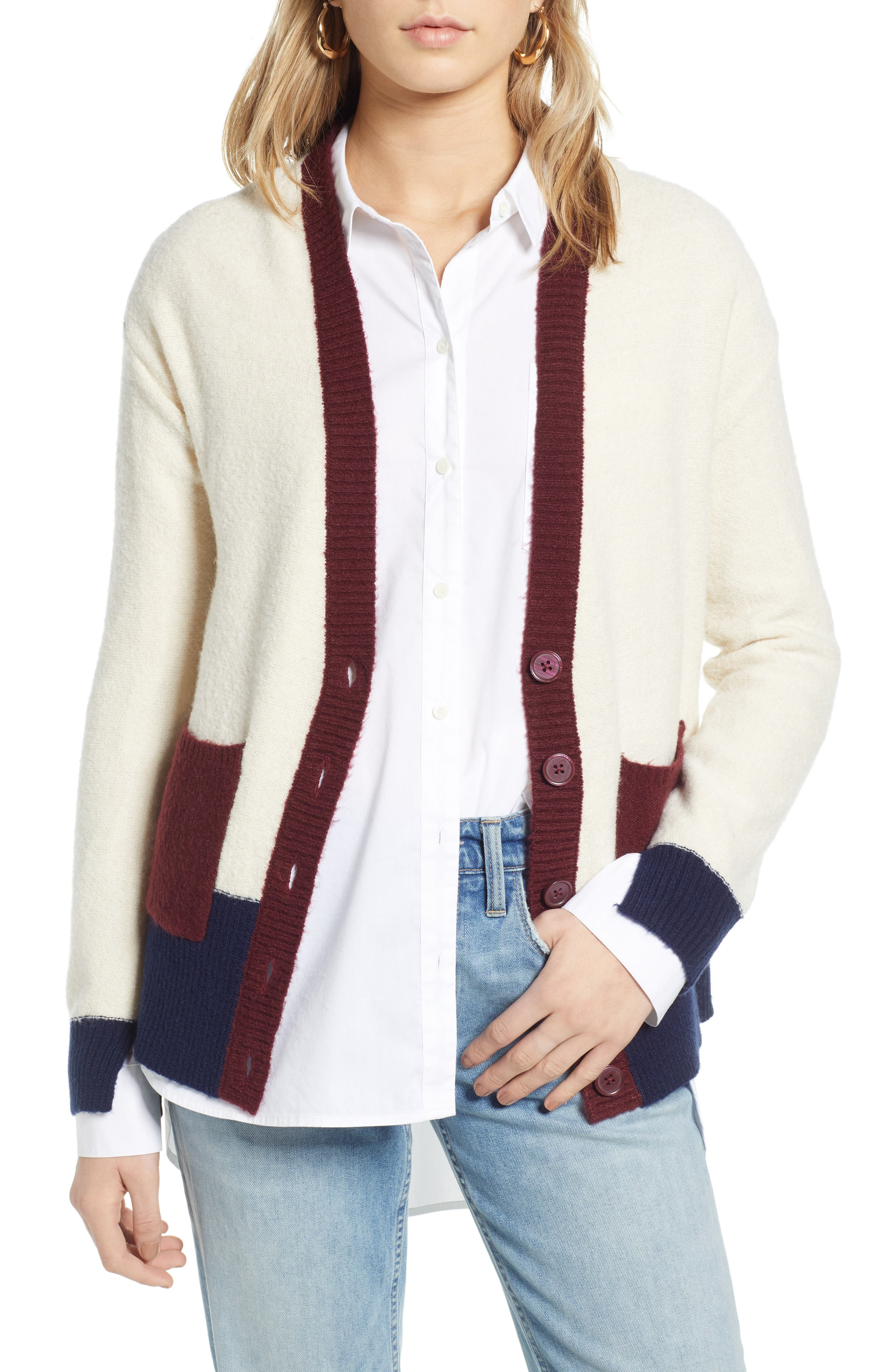Colorblock V-Neck Cardigan,                             Main thumbnail 1, color,                             BEIGE OATMEAL LIGHT HEATHER
