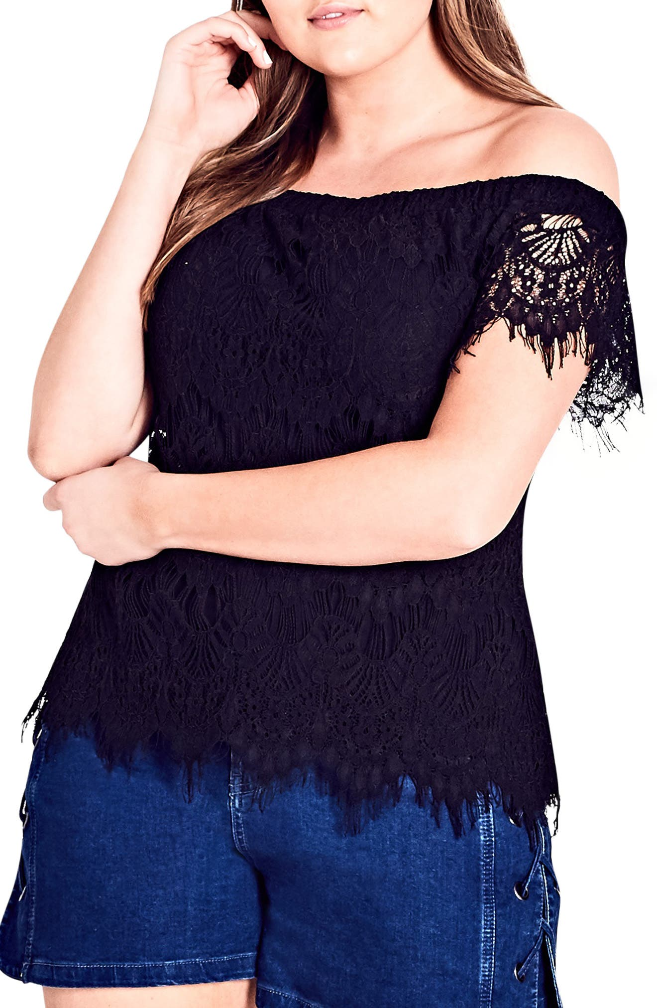 CITY CHIC,                             Lacy Off the Shoulder Top,                             Main thumbnail 1, color,                             001