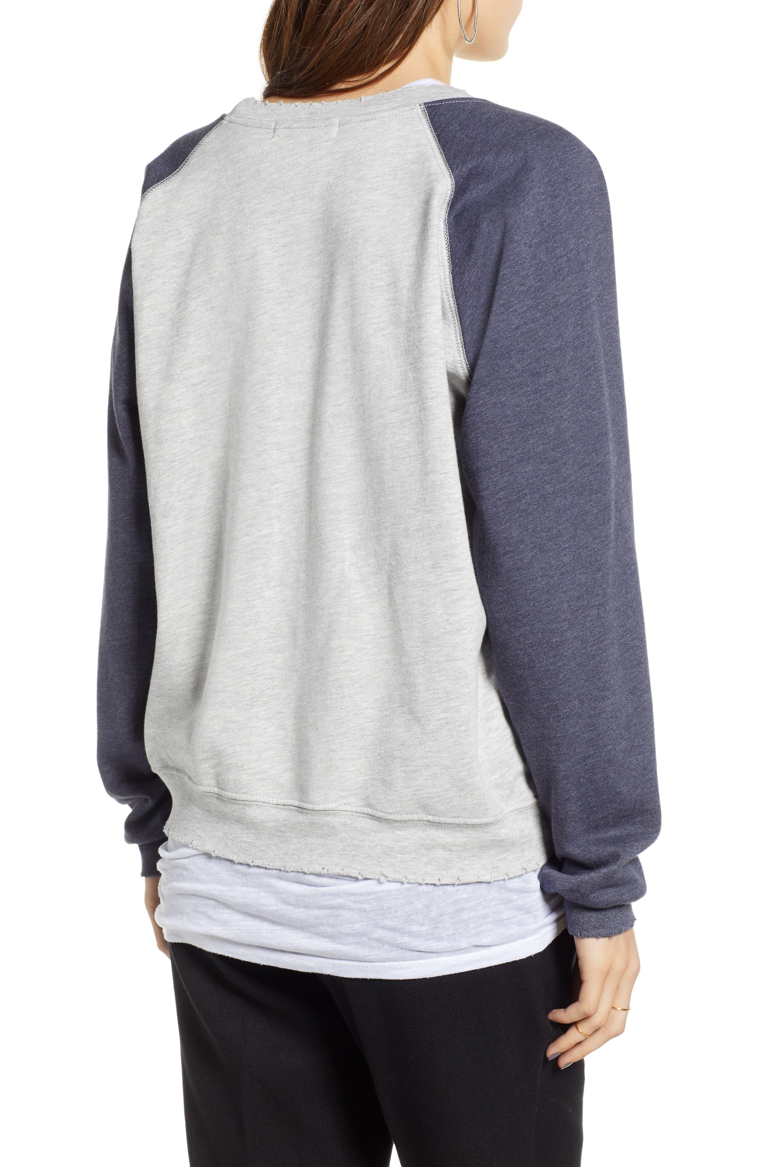 Raglan Sweatshirt,                             Alternate thumbnail 2, color,                             GREY HEATHER- NAVY COMBO