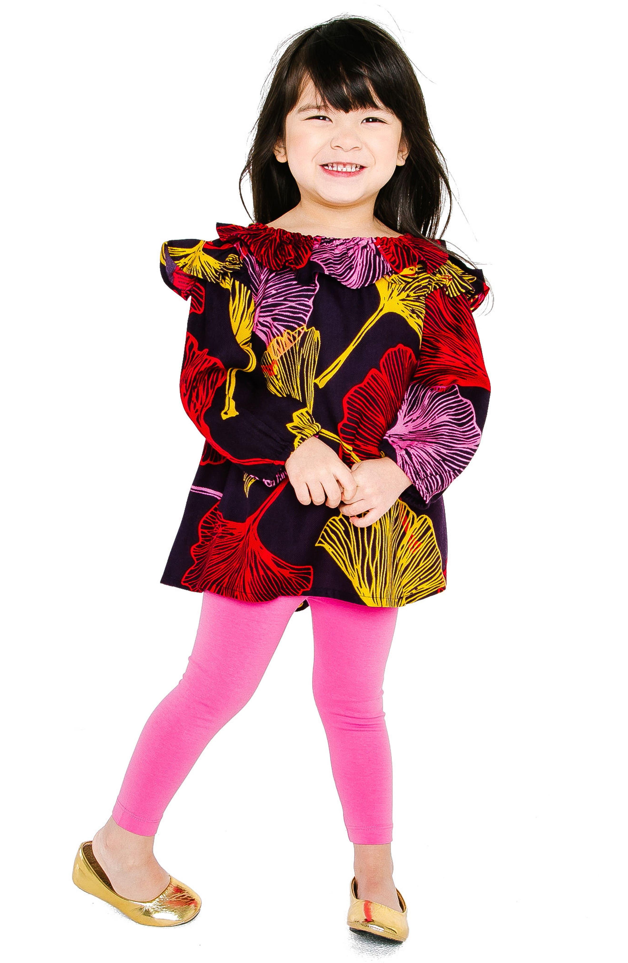 Anais Leaf Print Dress,                             Alternate thumbnail 2, color,                             PURPLE