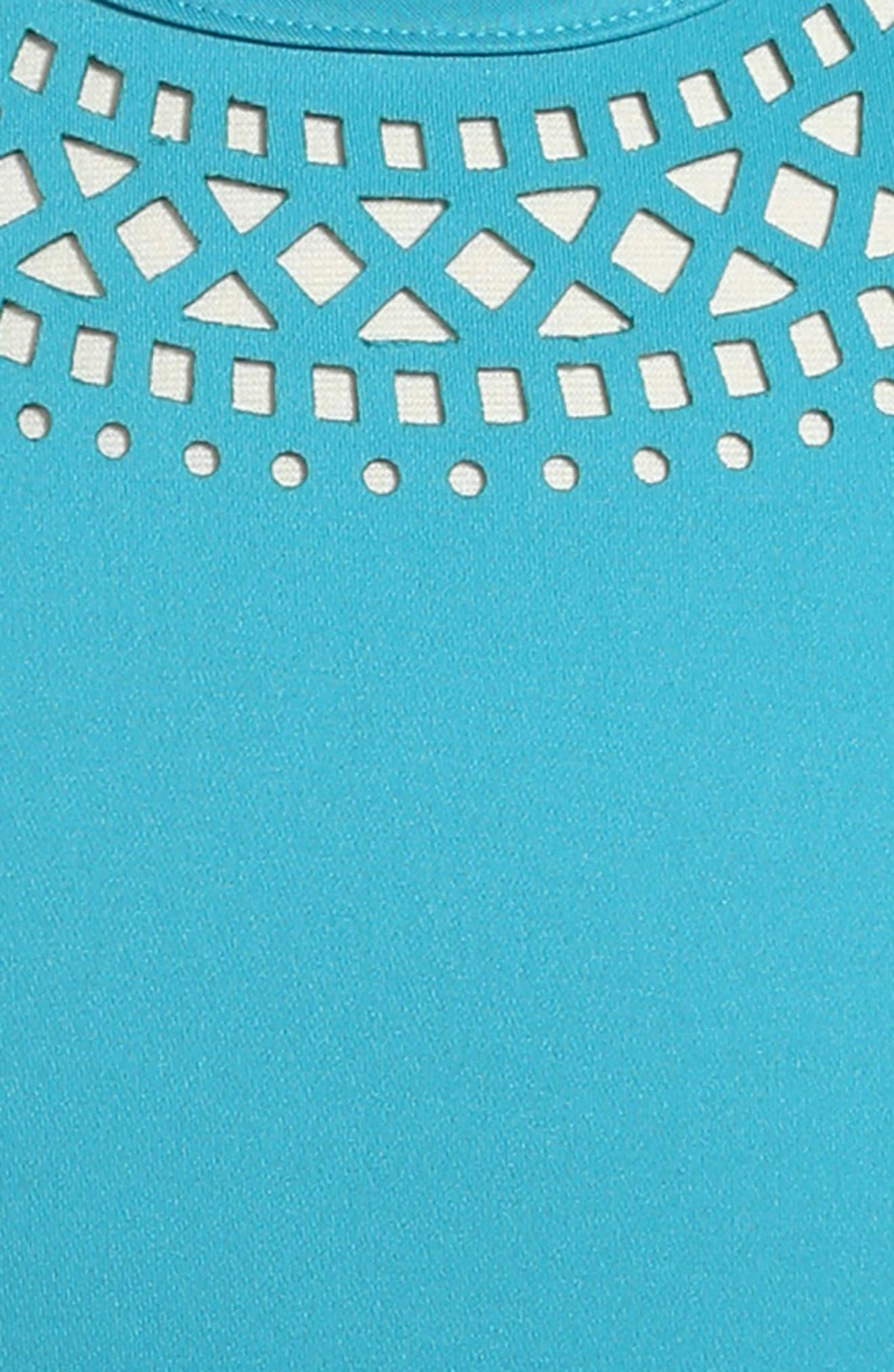 Lazer Cut Fit & Flare Dress,                             Alternate thumbnail 3, color,                             351