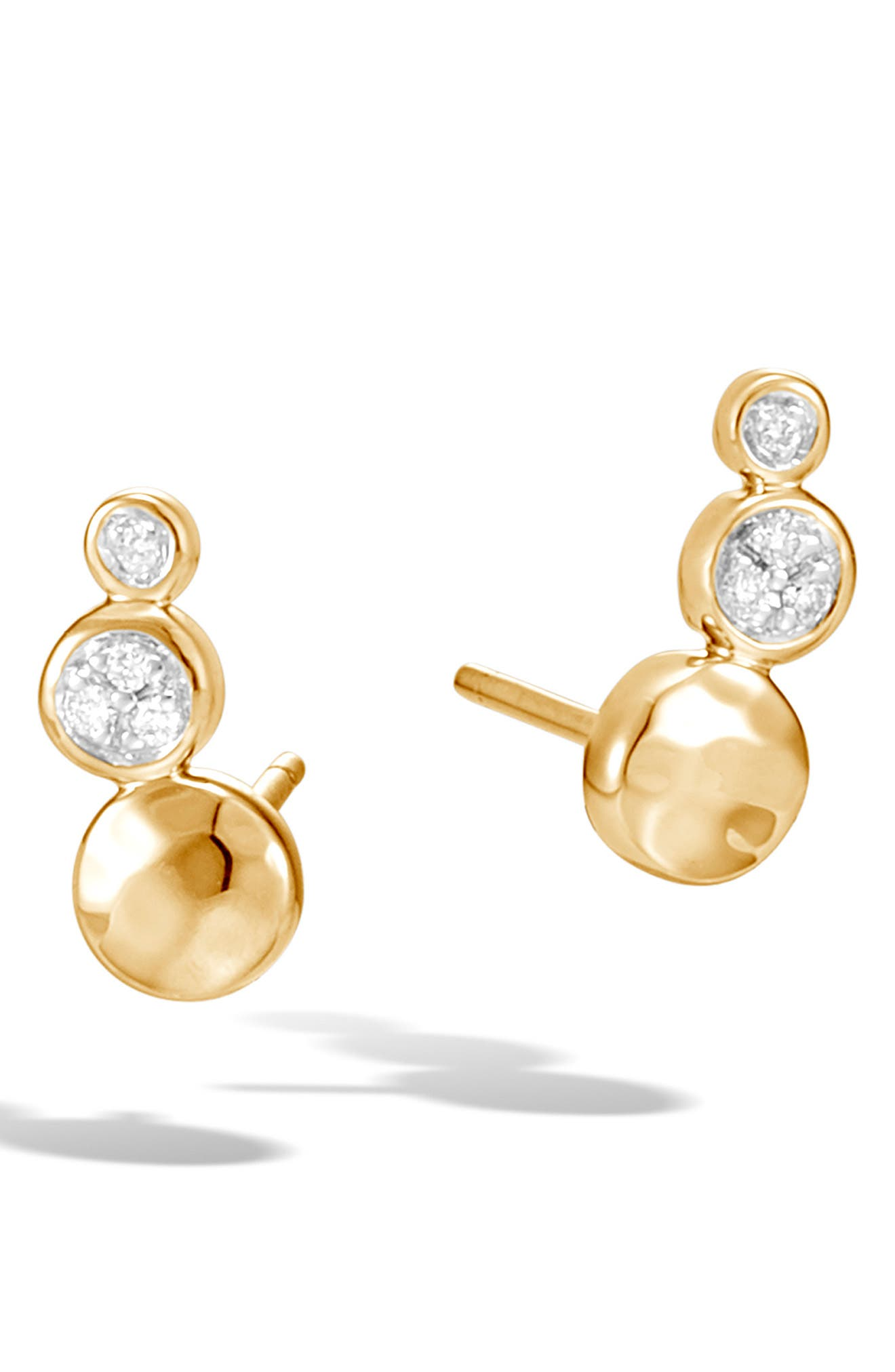 18K Yellow Gold Dot Hammered Pave Diamond Stud Earrings in 18Kyg
