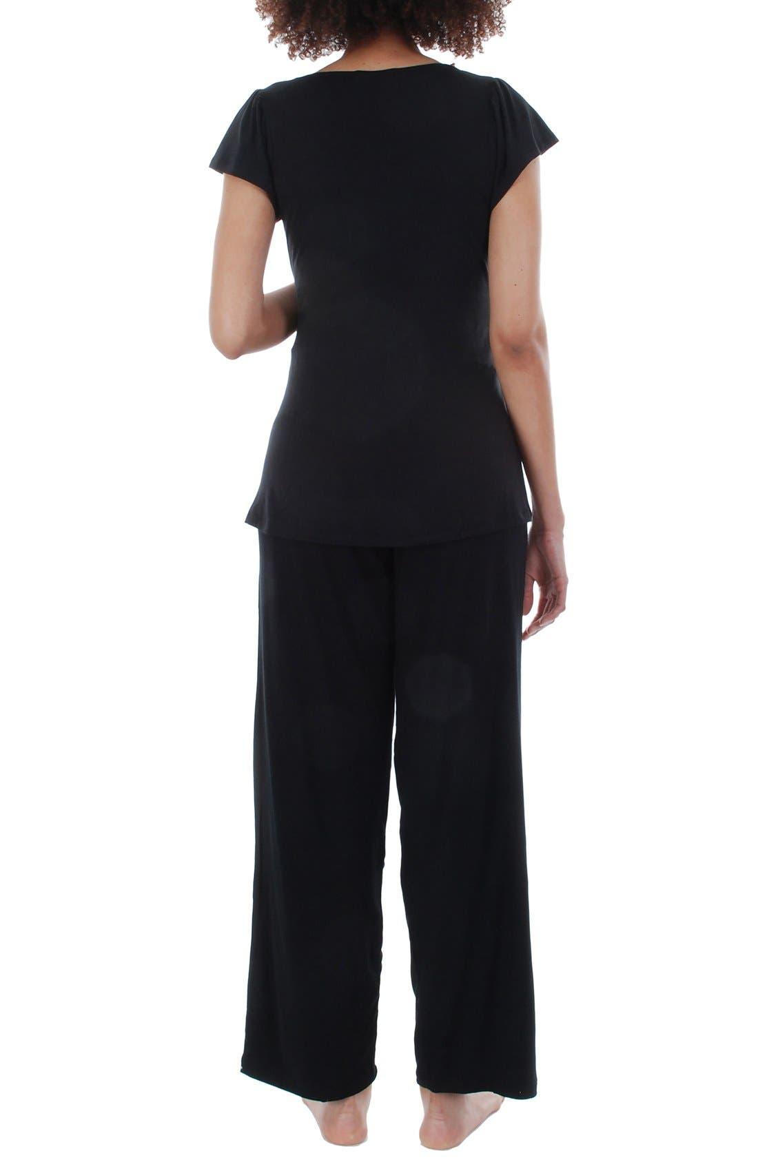 Serena Maternity Sleepwear Set,                             Alternate thumbnail 4, color,                             BLACK