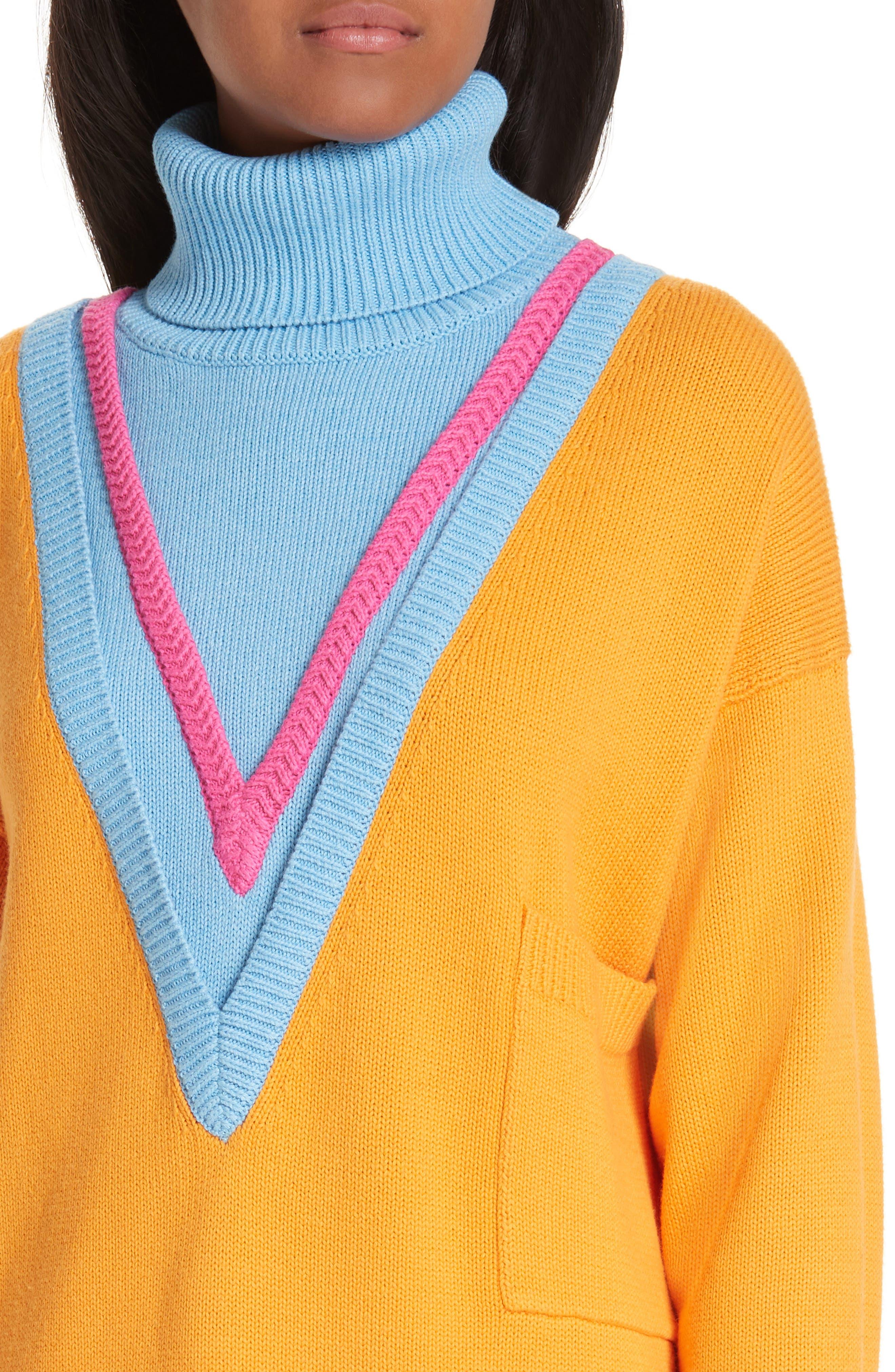 VICTOR GLEMAUD,                             Layered Cotton & Cashmere Turtleneck Sweater,                             Alternate thumbnail 4, color,                             ORANGE COMBO