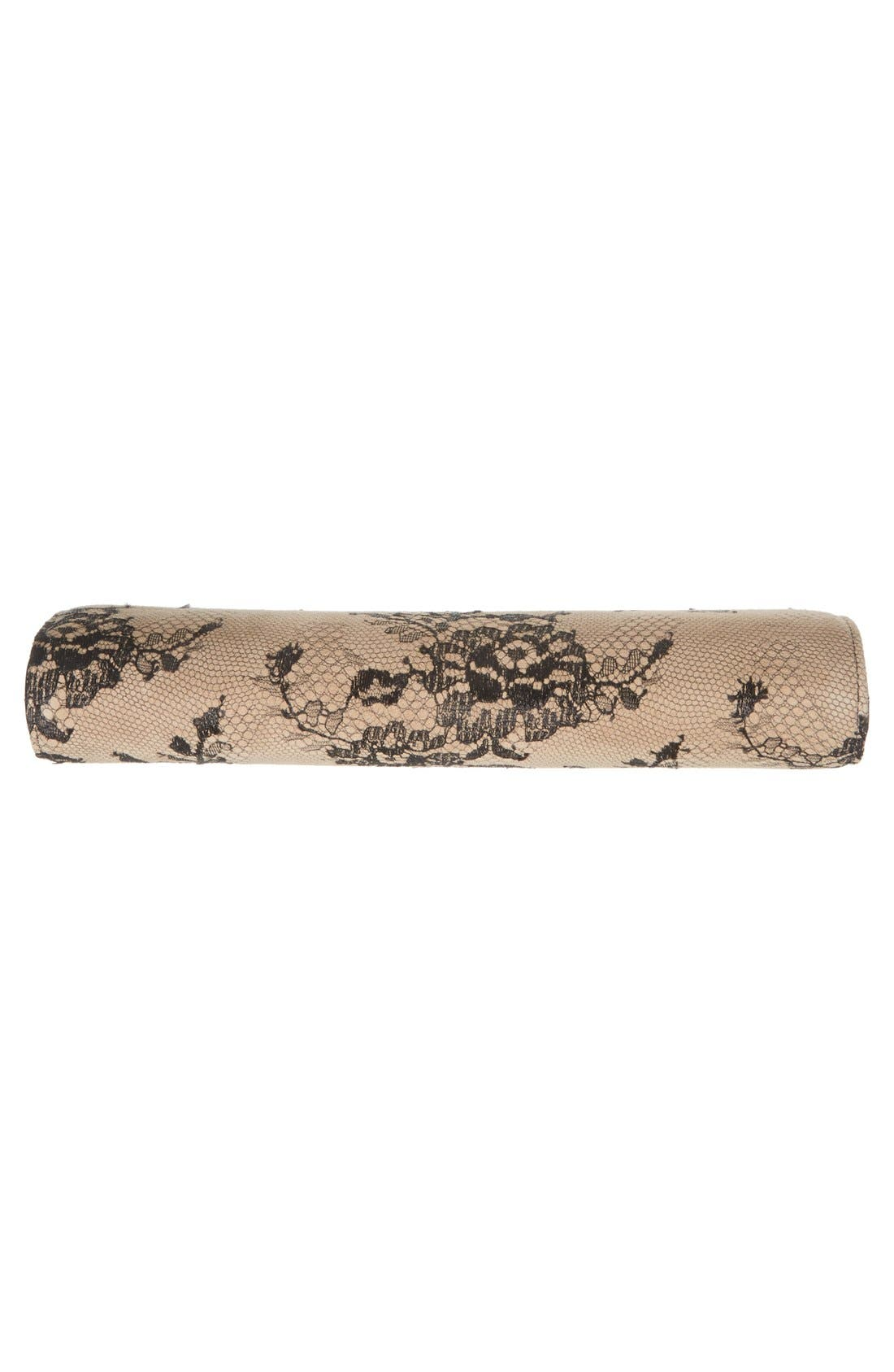 Camille Lace & Leather Clutch,                             Alternate thumbnail 3, color,                             001