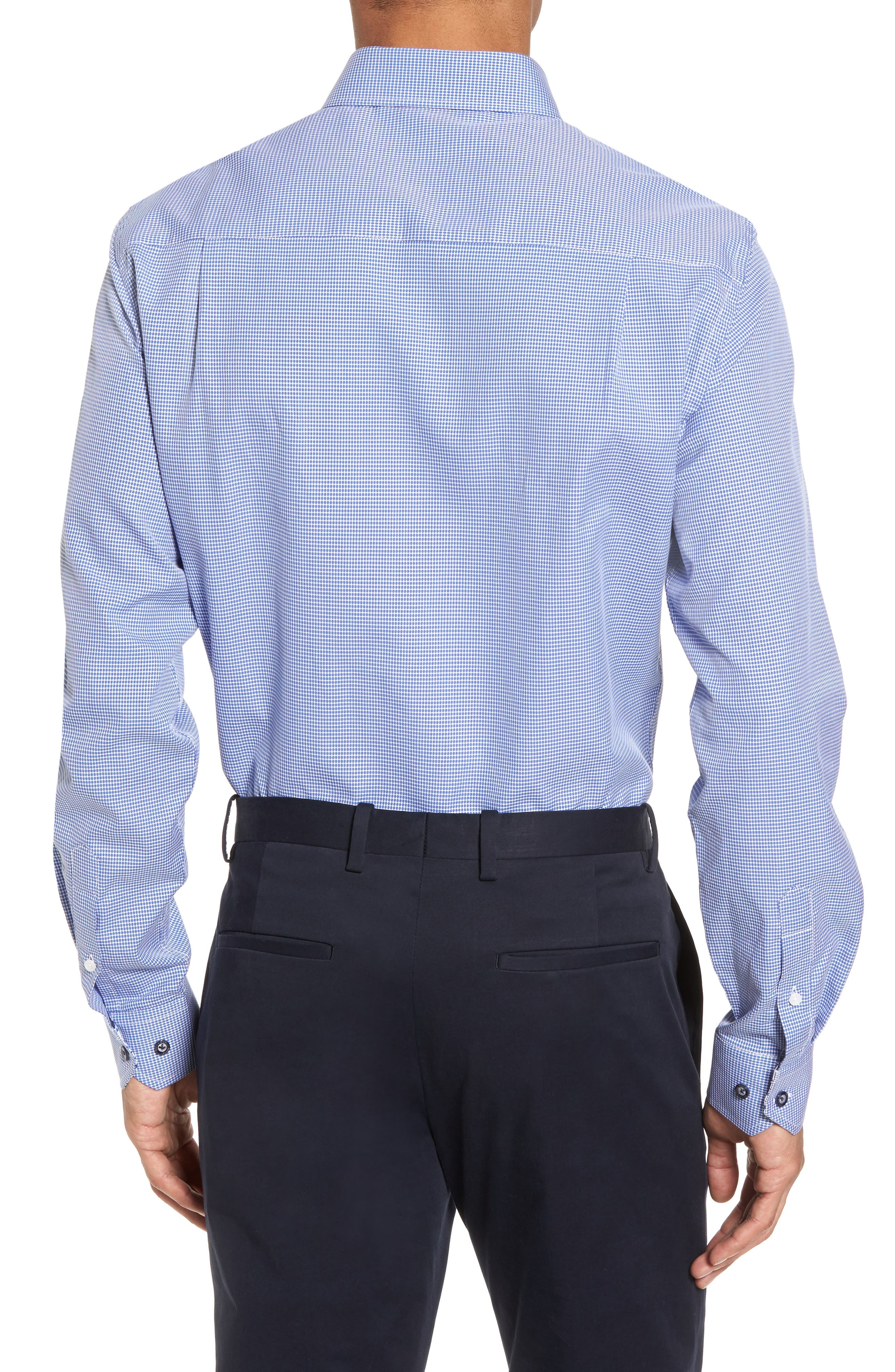 Trim Fit Dot Dress Shirt,                             Alternate thumbnail 2, color,                             BLUE
