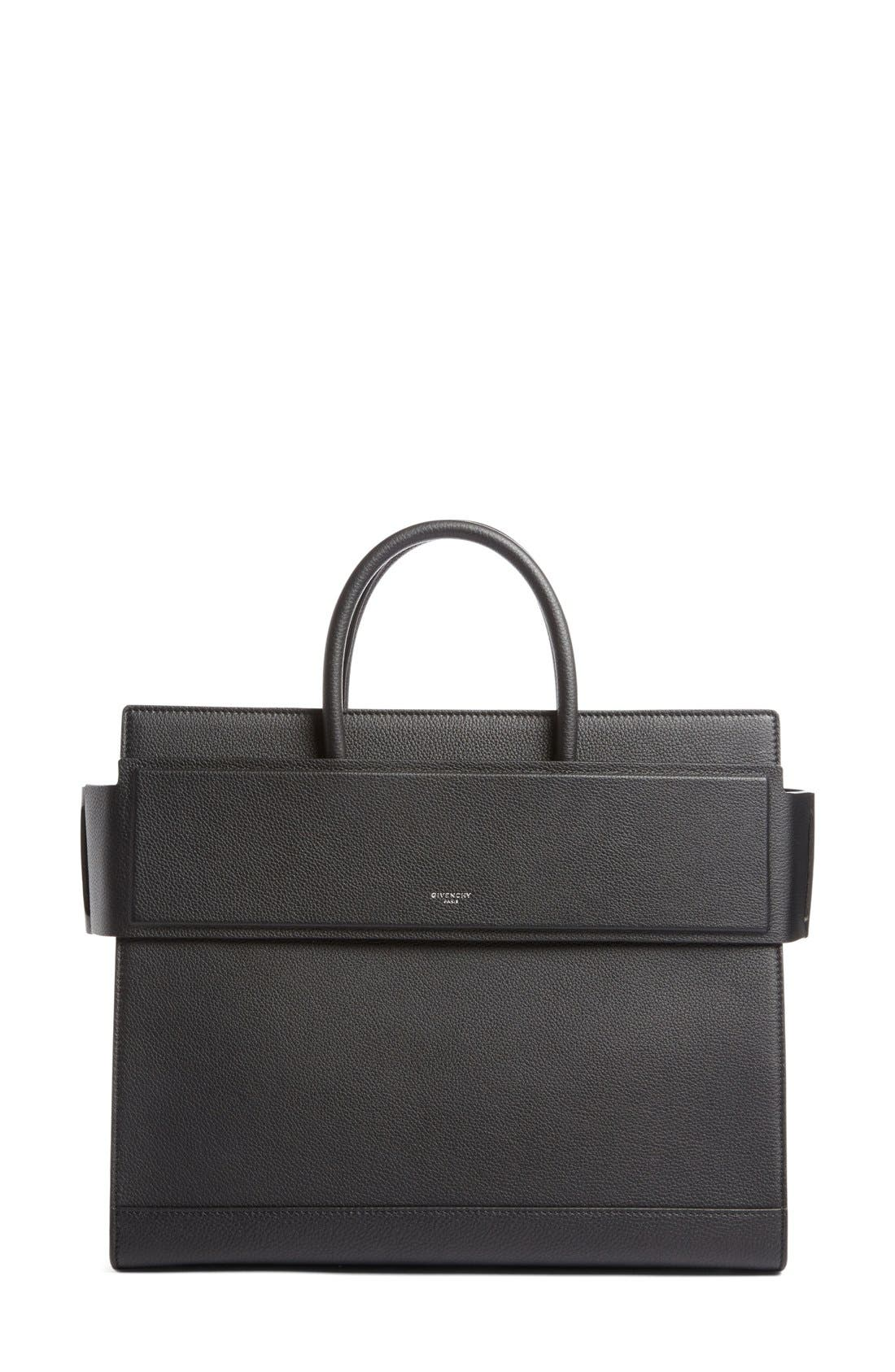 Medium Horizon Grained Calfskin Leather Tote,                             Main thumbnail 1, color,                             BLACK